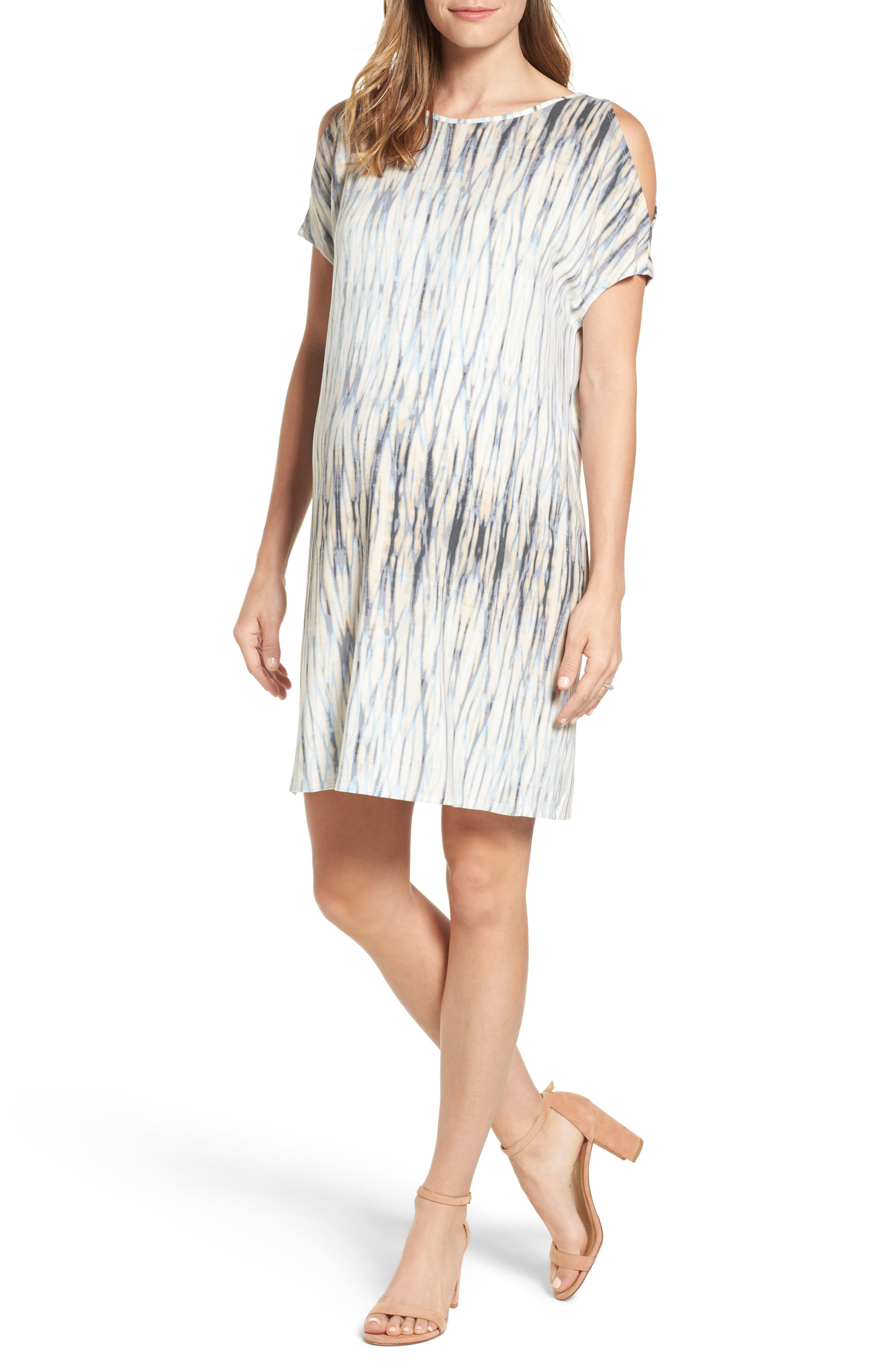 Caia Cold Shoulder Maternity Dress,                         Main,                         color, WATER REFLECTIONS