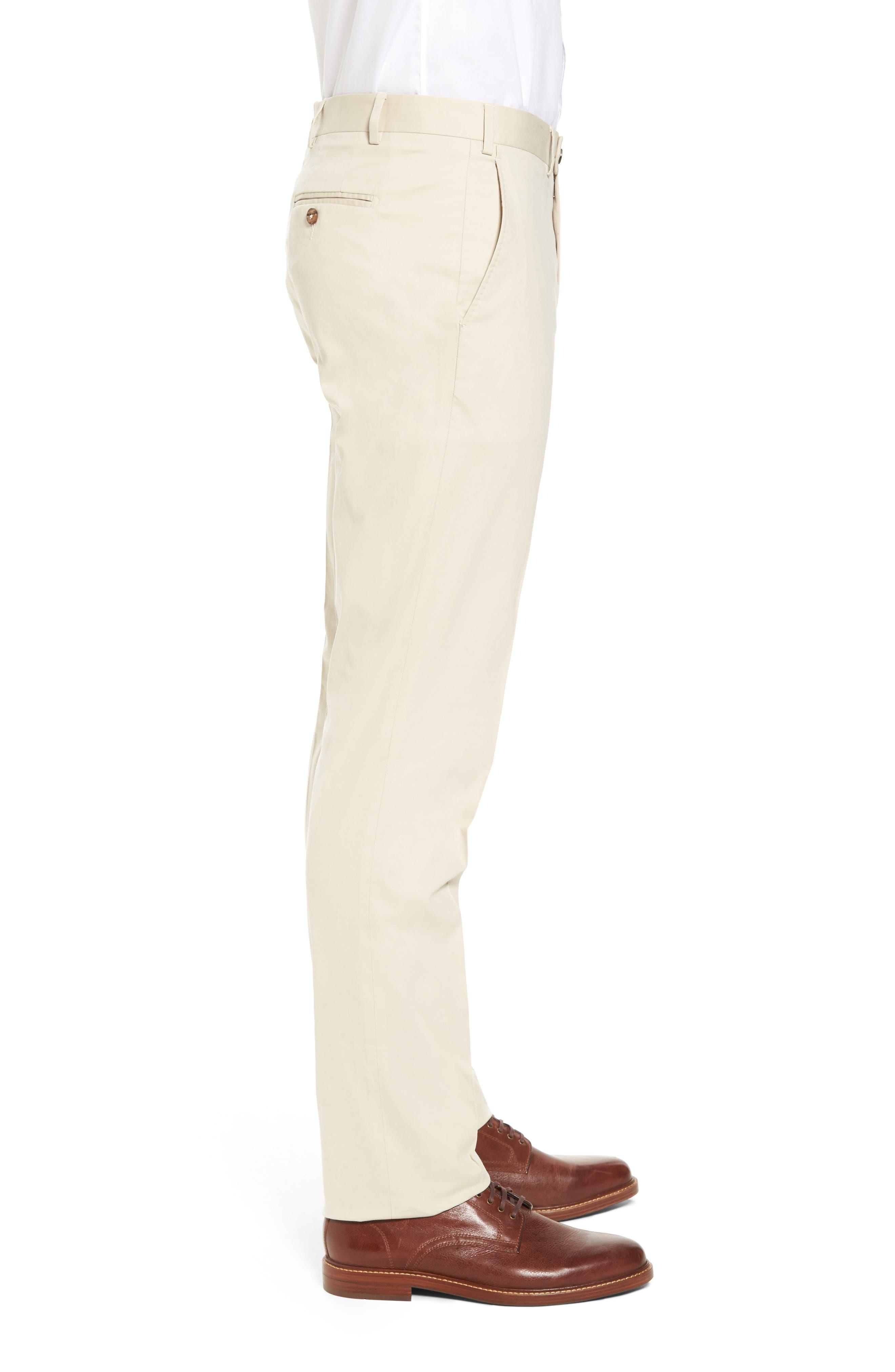 Perfect Flat Front Poplin Pants,                             Alternate thumbnail 3, color,                             STONE