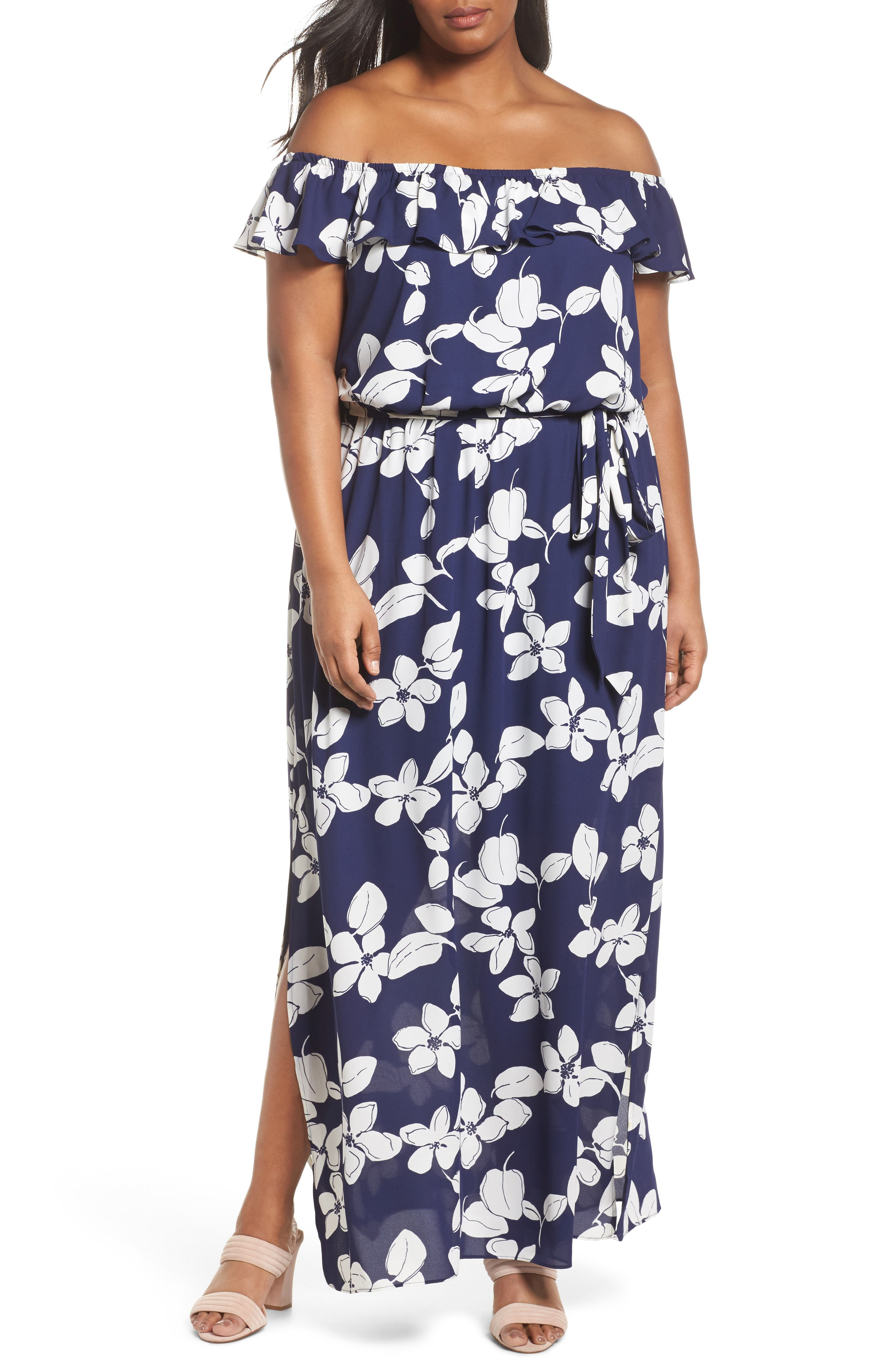 ADRIANNA PAPELL Simple Delight Ruffle Maxi Dress, Main, color, 480