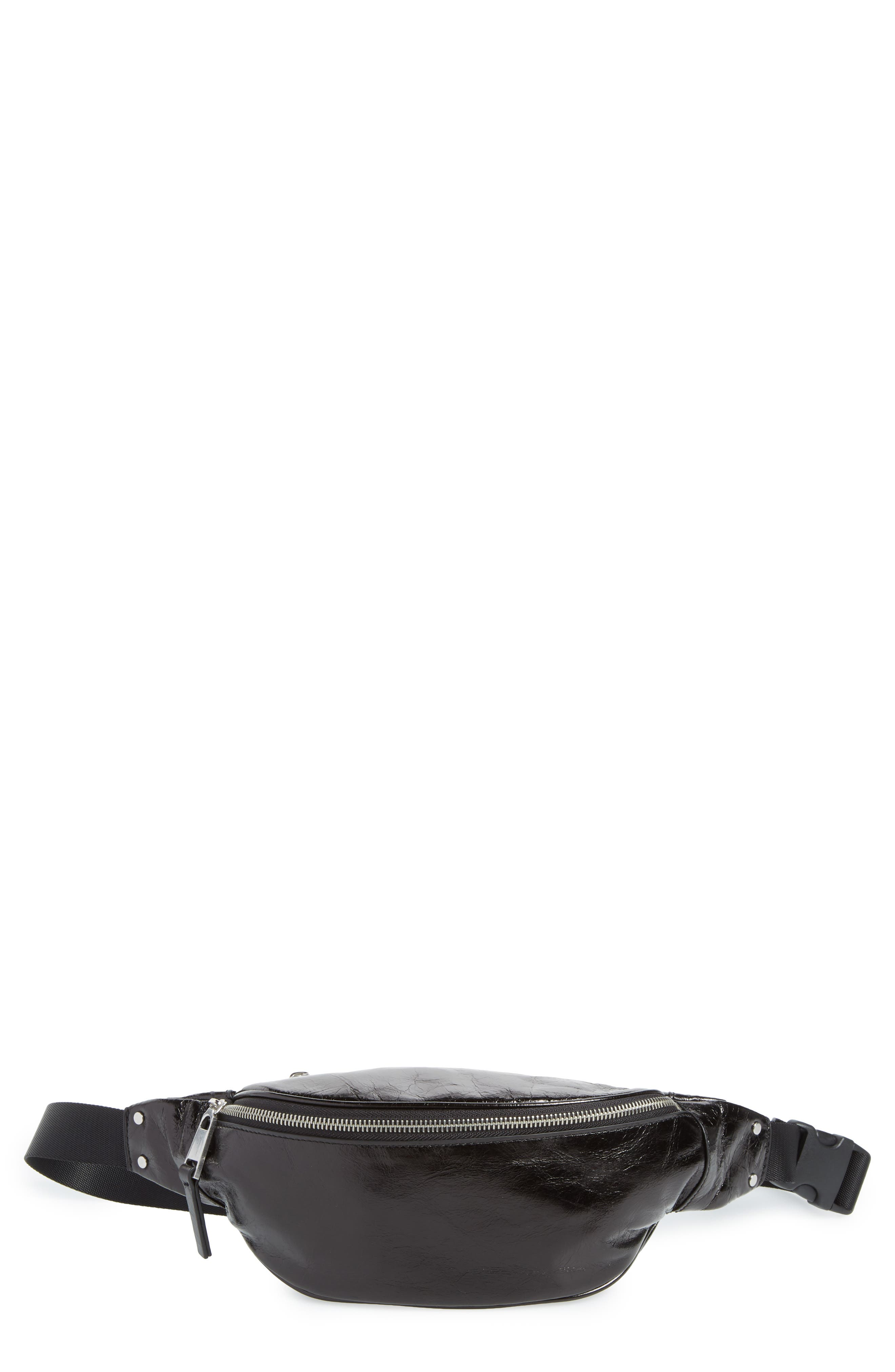 Mason Glazed Leather Belt Bag,                         Main,                         color, BLACK