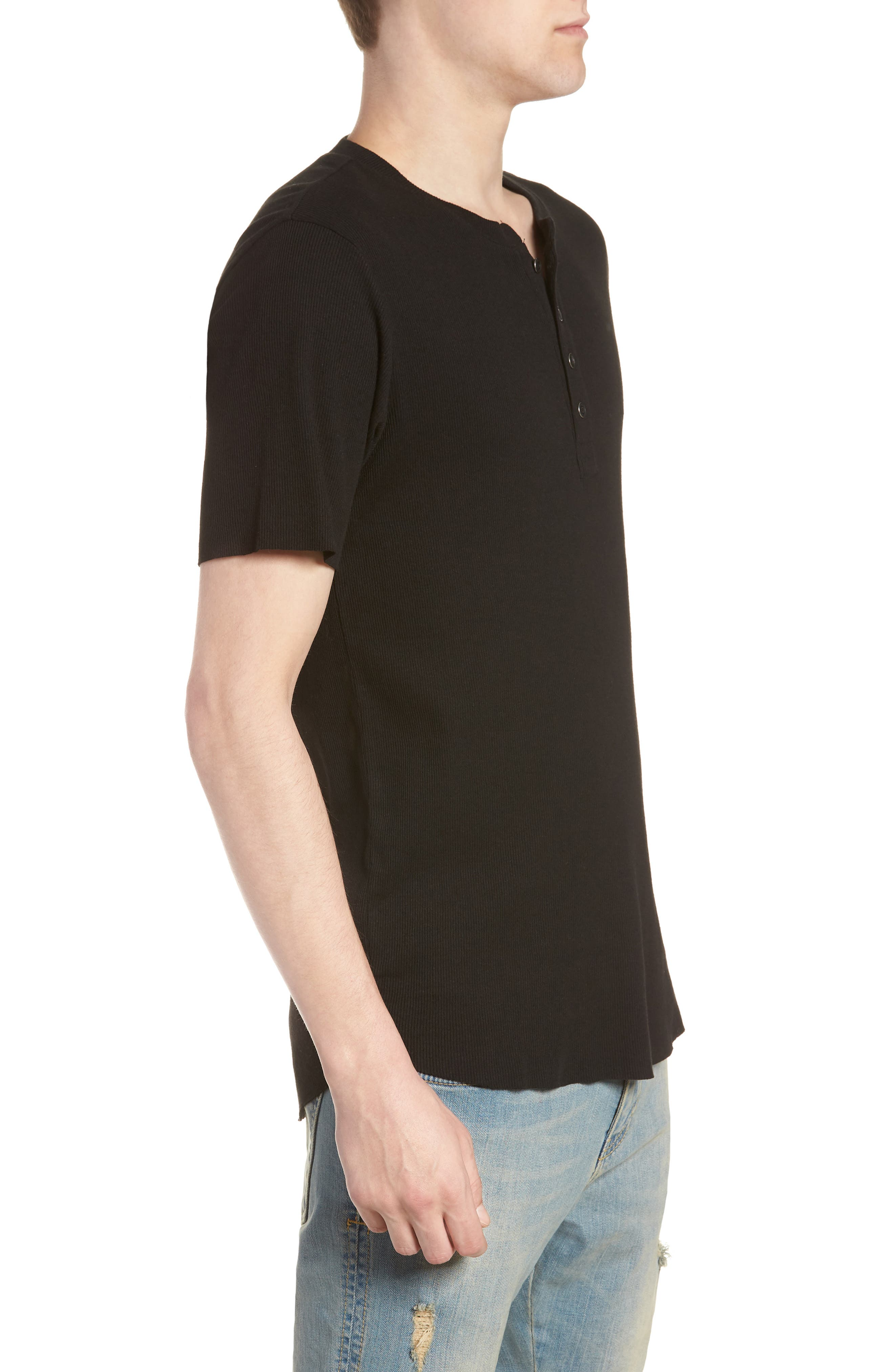 Ribbed Henley T-Shirt,                             Alternate thumbnail 3, color,                             001