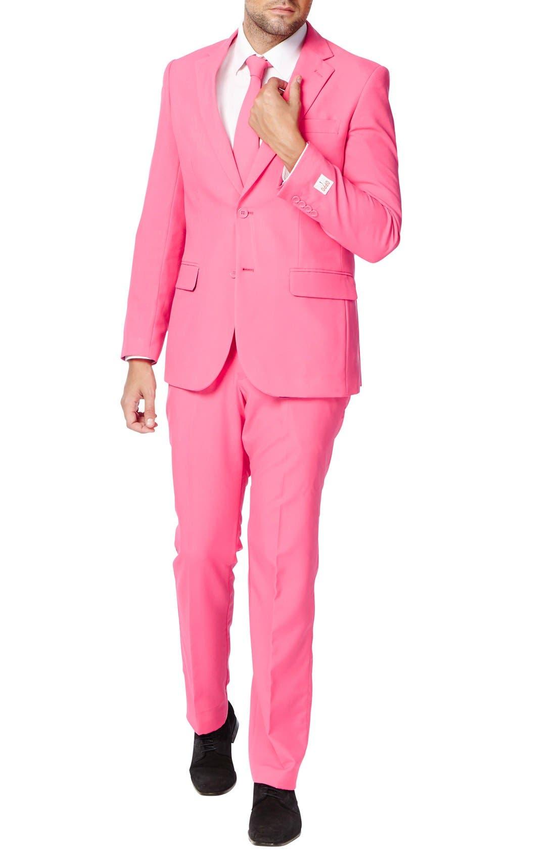 'Mr. Pink' Trim Fit Two-Piece Suit with Tie,                             Alternate thumbnail 4, color,                             650