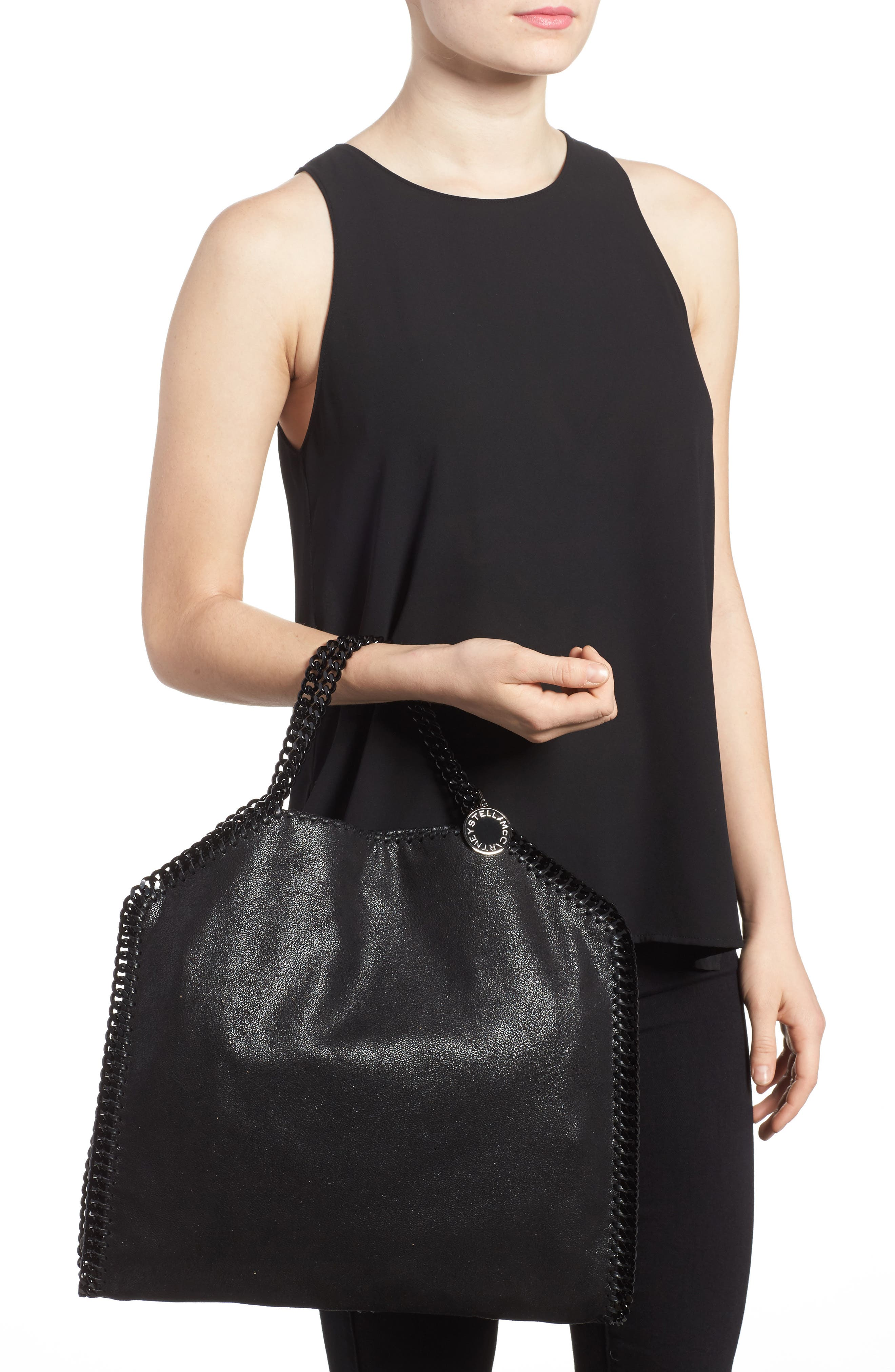 Falabella Shaggy Deer Faux Leather Tote,                             Alternate thumbnail 2, color,                             BLACK OUT