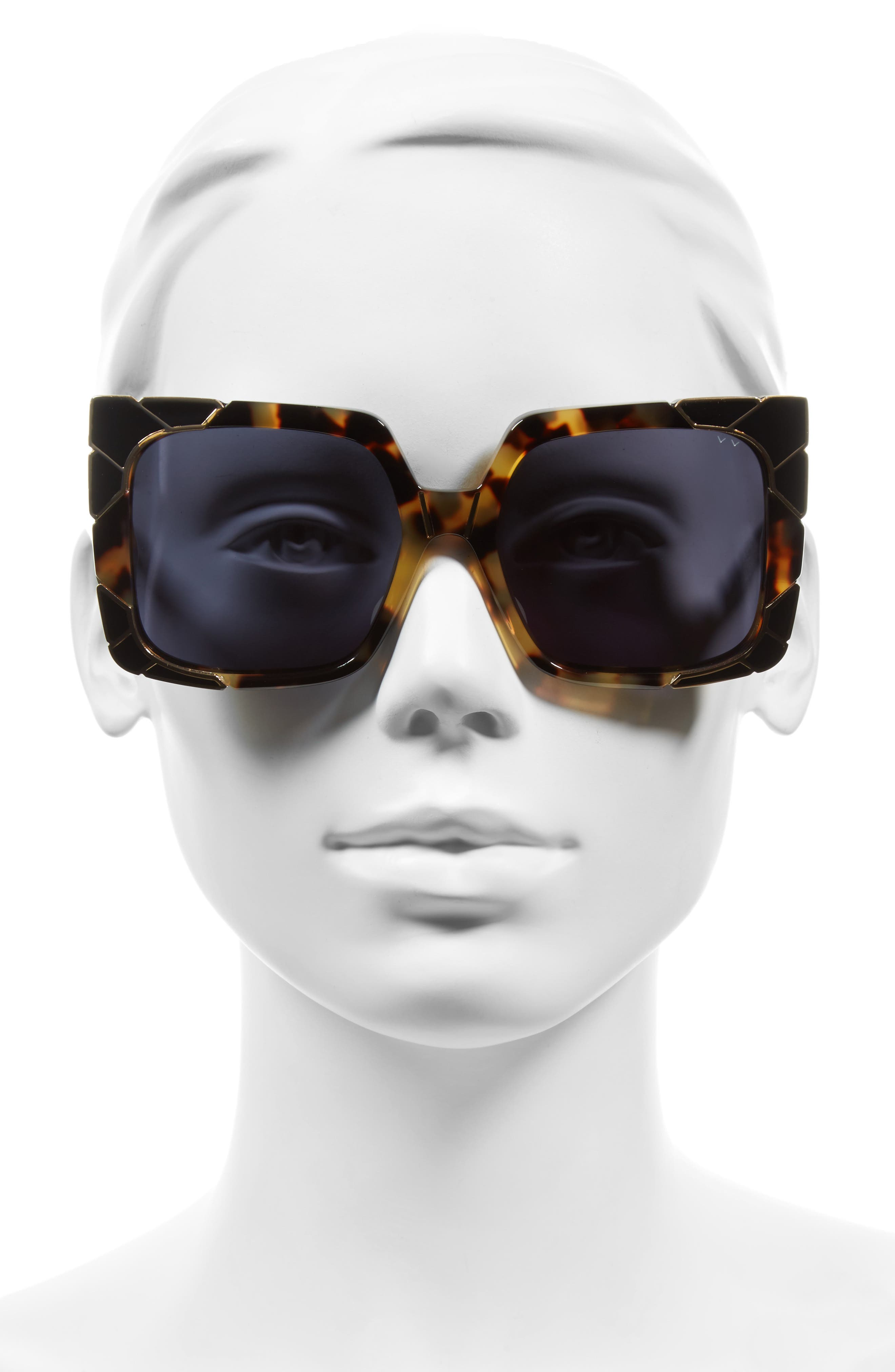 Sun & Shade 55mm Square Retro Sunglasses,                             Alternate thumbnail 2, color,                             DARK TORTOISE/ GOLD/ GREY