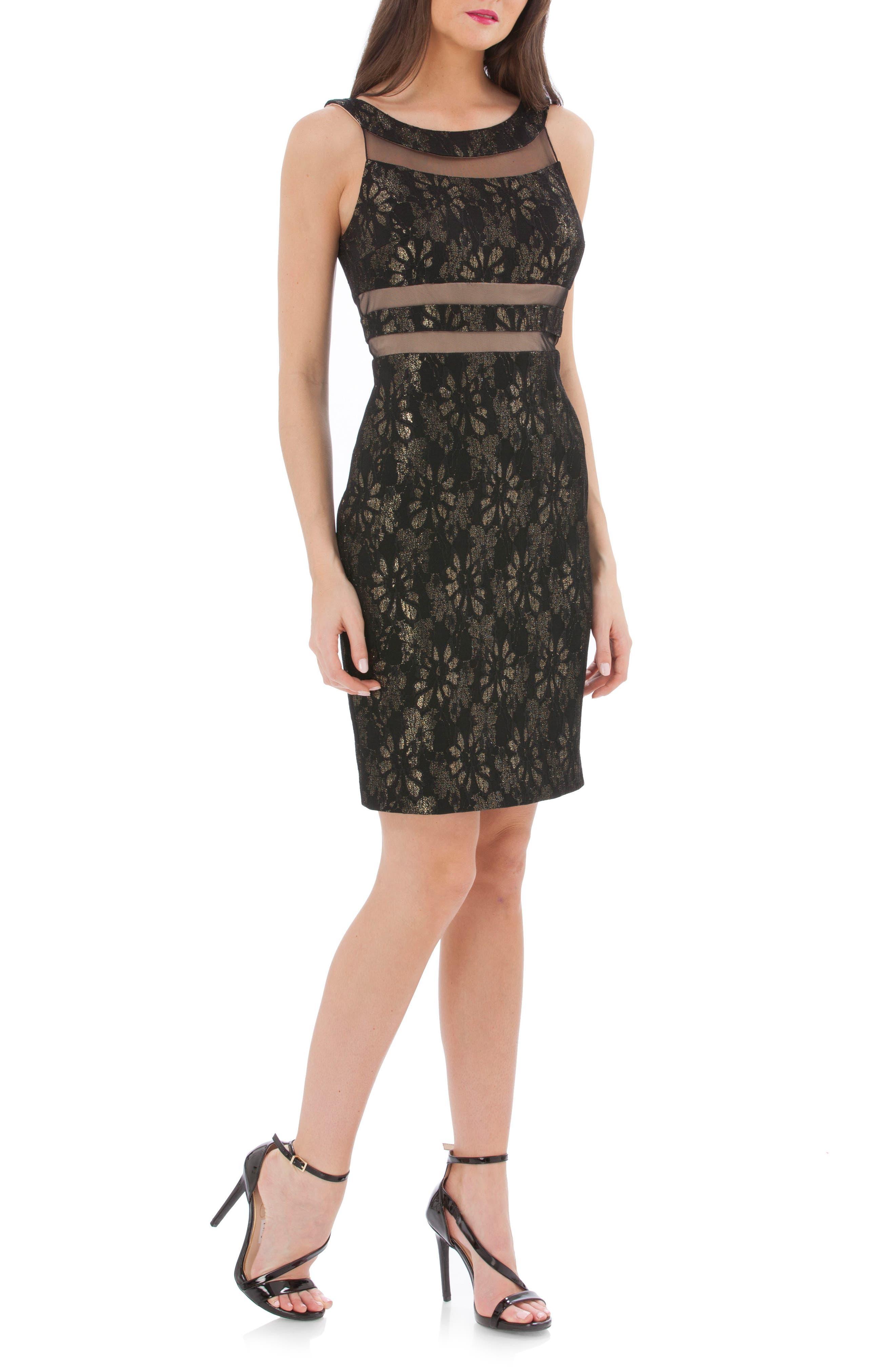 Bonded Lace Cocktail Dress,                         Main,                         color,