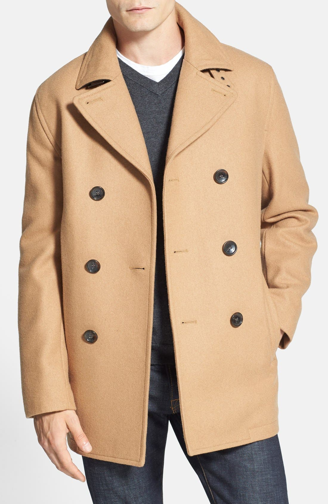 Wool Blend Double Breasted Peacoat,                             Main thumbnail 14, color,