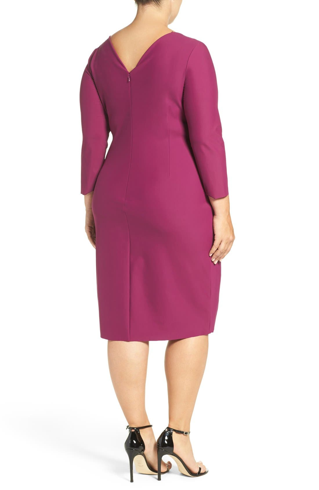 Embellished Surplice Sheath Dress,                             Alternate thumbnail 3, color,