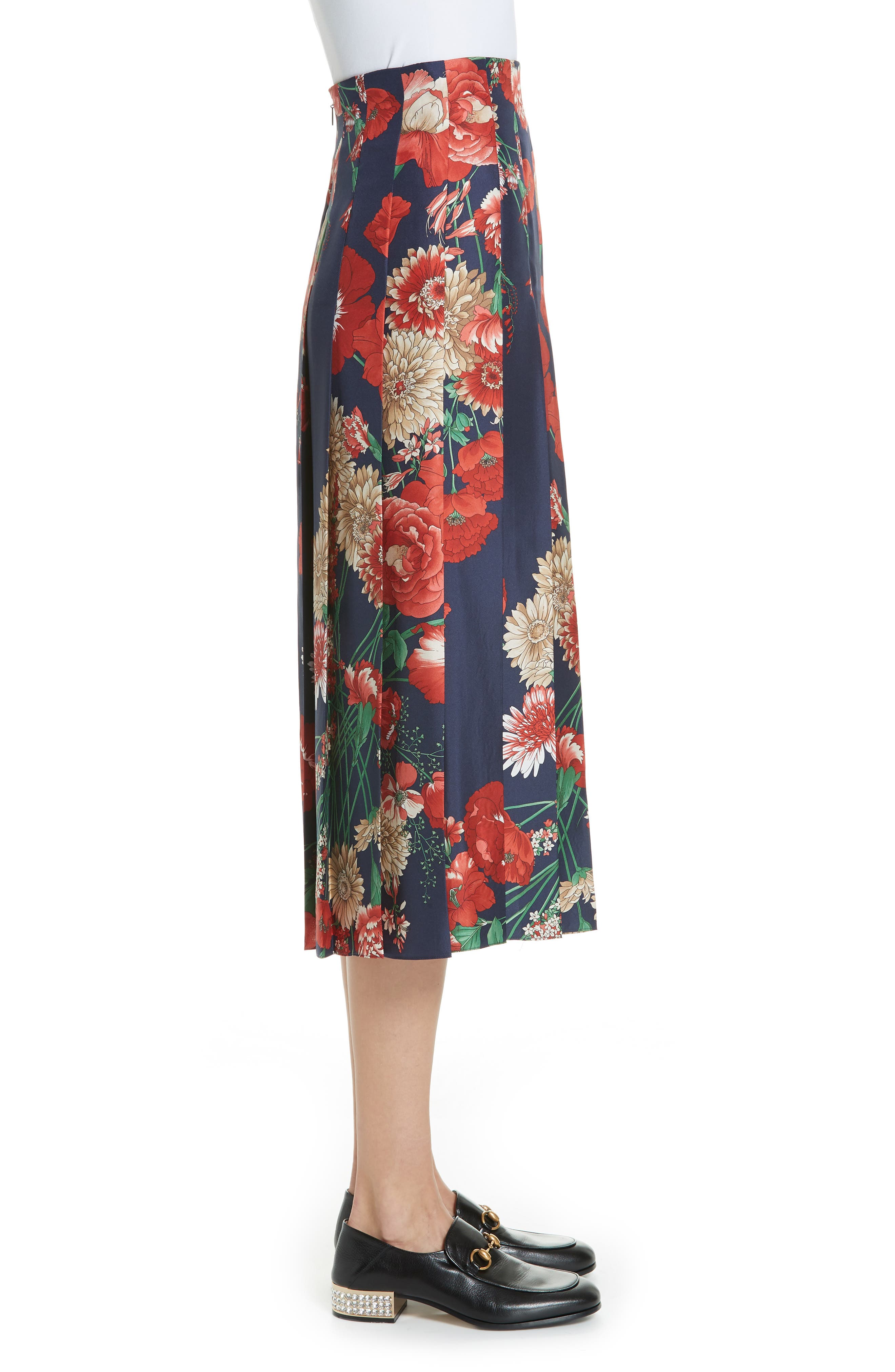 Spring Bouquet Print Silk Pleated Skirt,                             Alternate thumbnail 3, color,                             BLUE/ RED PRINT
