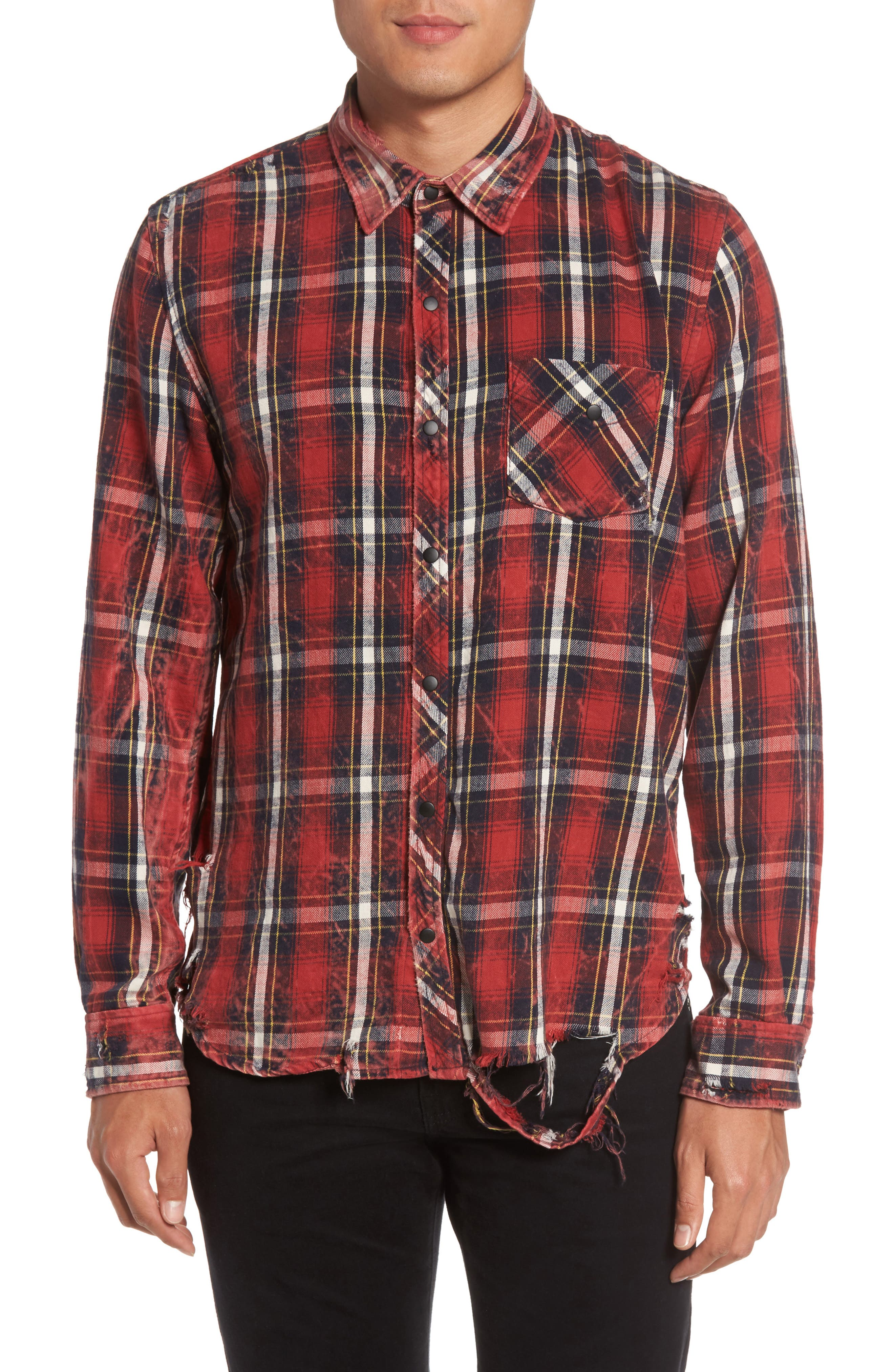 Slim Fit Plaid Sport Shirt,                             Main thumbnail 1, color,
