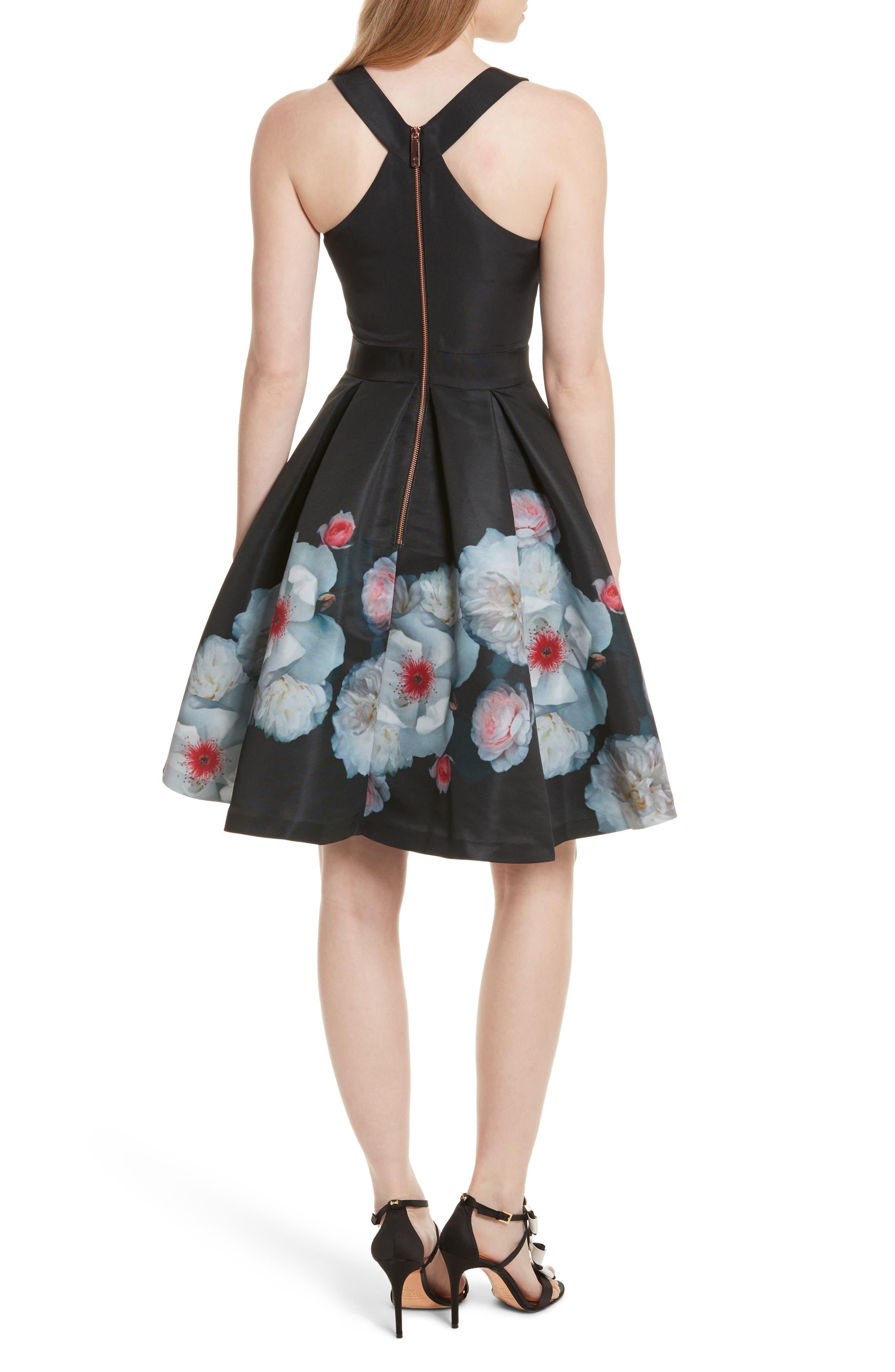 Jelina Chelsea Floral Fit & Flare Dress,                             Alternate thumbnail 2, color,                             001