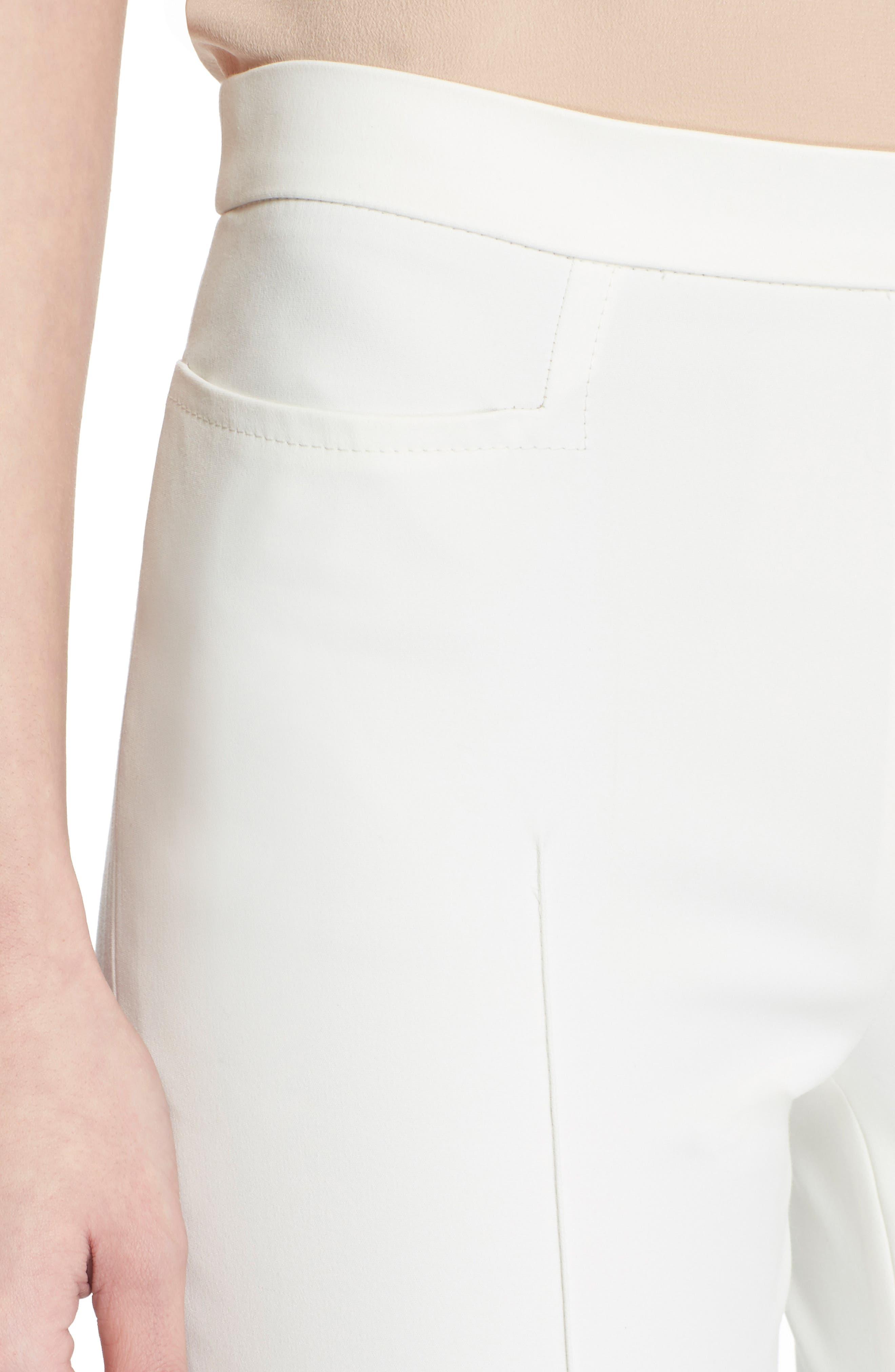 'Franca' Techno Cotton Blend Ankle Pants,                             Alternate thumbnail 4, color,                             ECRU