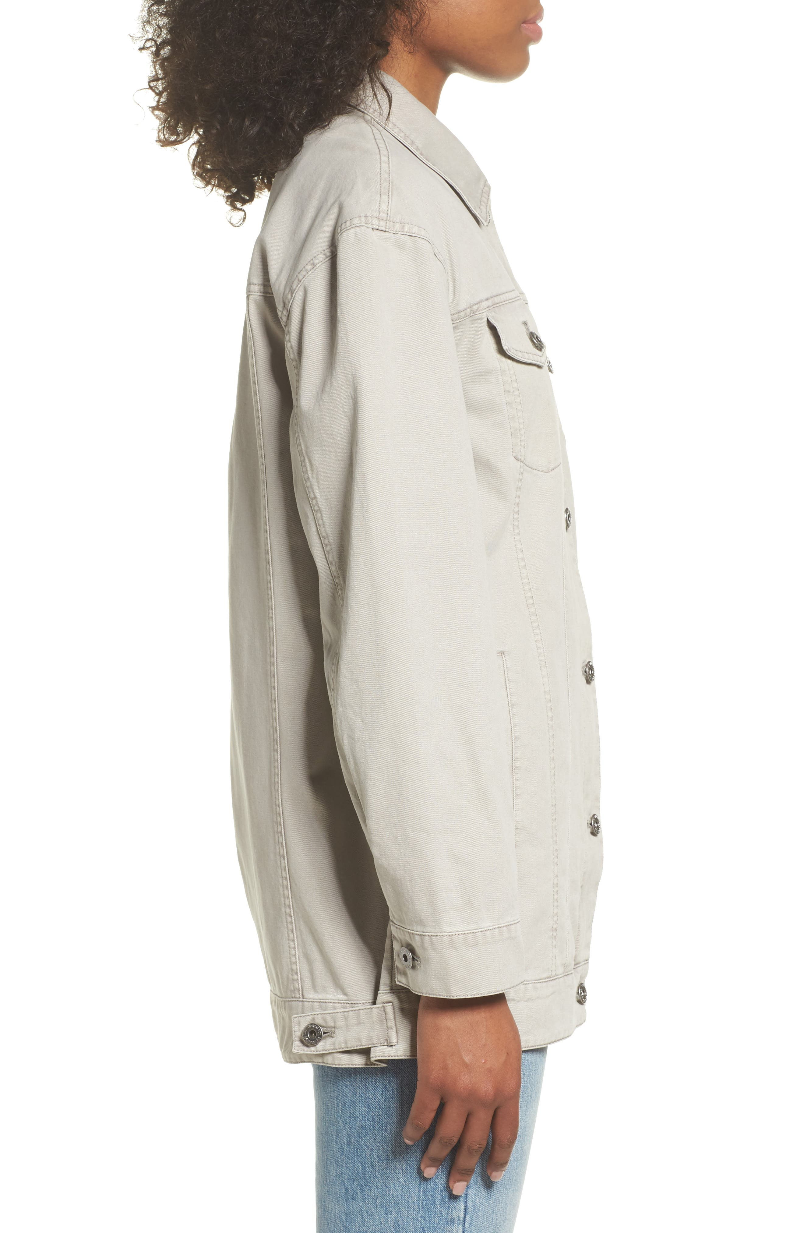 Oversize Cotton Canvas Trucker Jacket,                             Alternate thumbnail 3, color,                             030