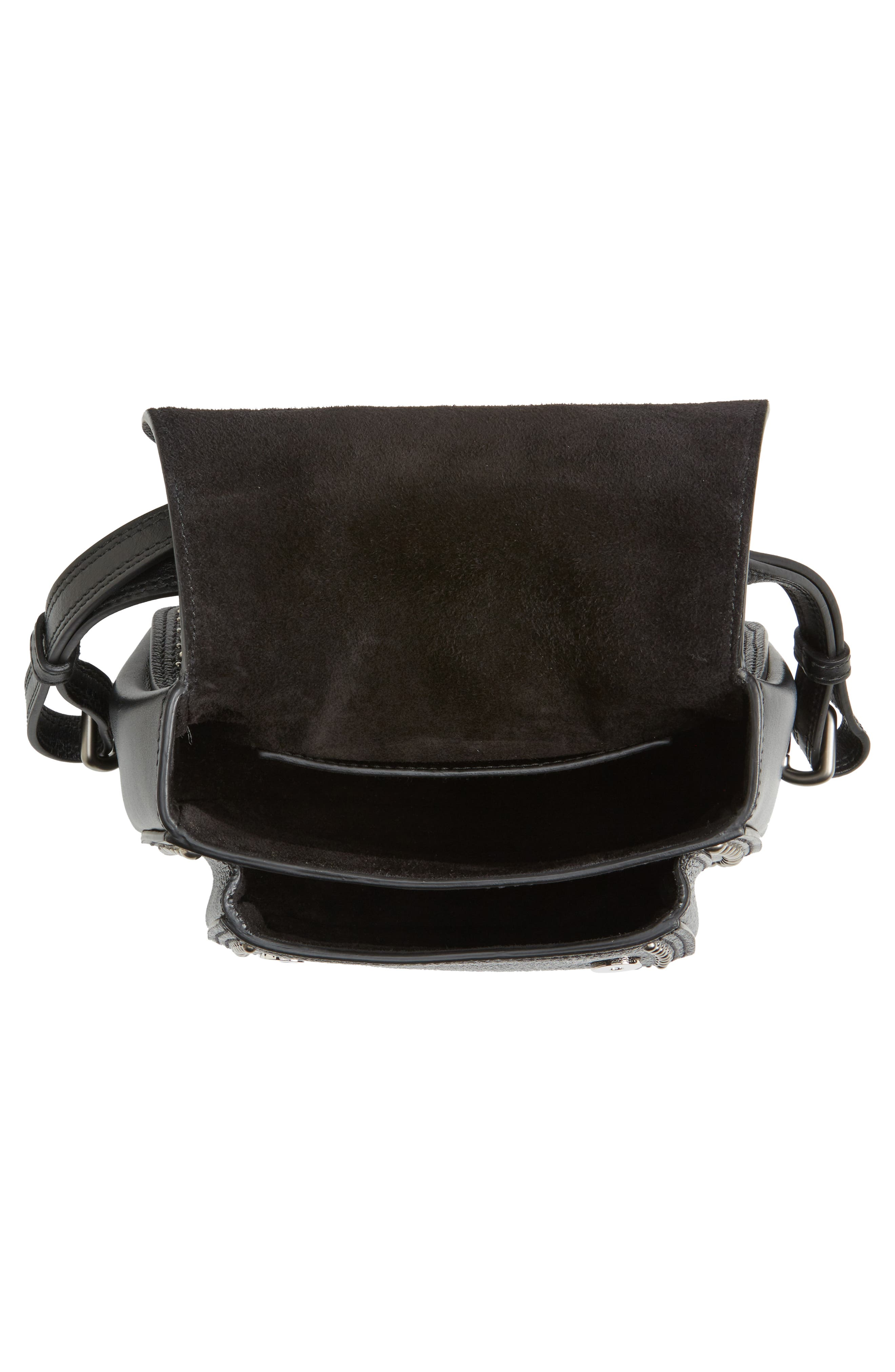 Dahlia Leather Shoulder Bag,                             Alternate thumbnail 4, color,                             NERO
