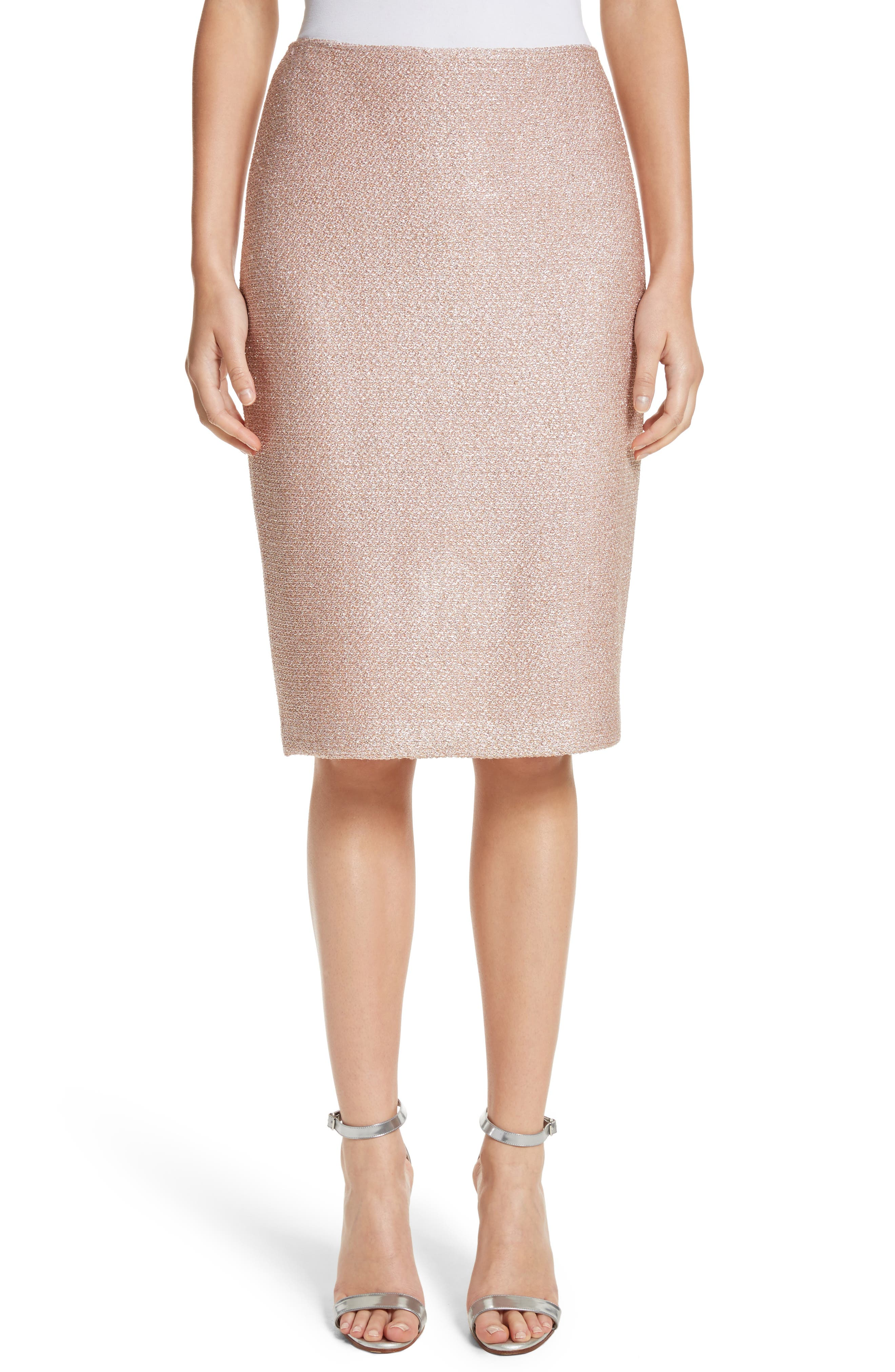 ST. JOHN COLLECTION Frosted Metallic Knit Pencil Skirt, Main, color, 660