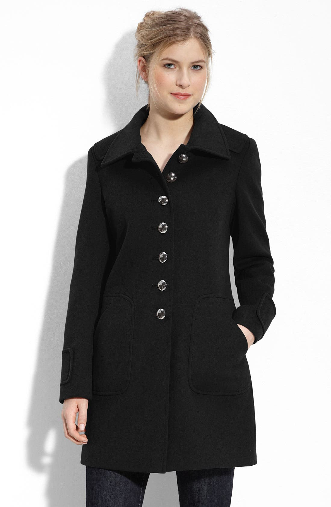 'Michelle' Wool Walking Coat,                             Main thumbnail 1, color,                             001