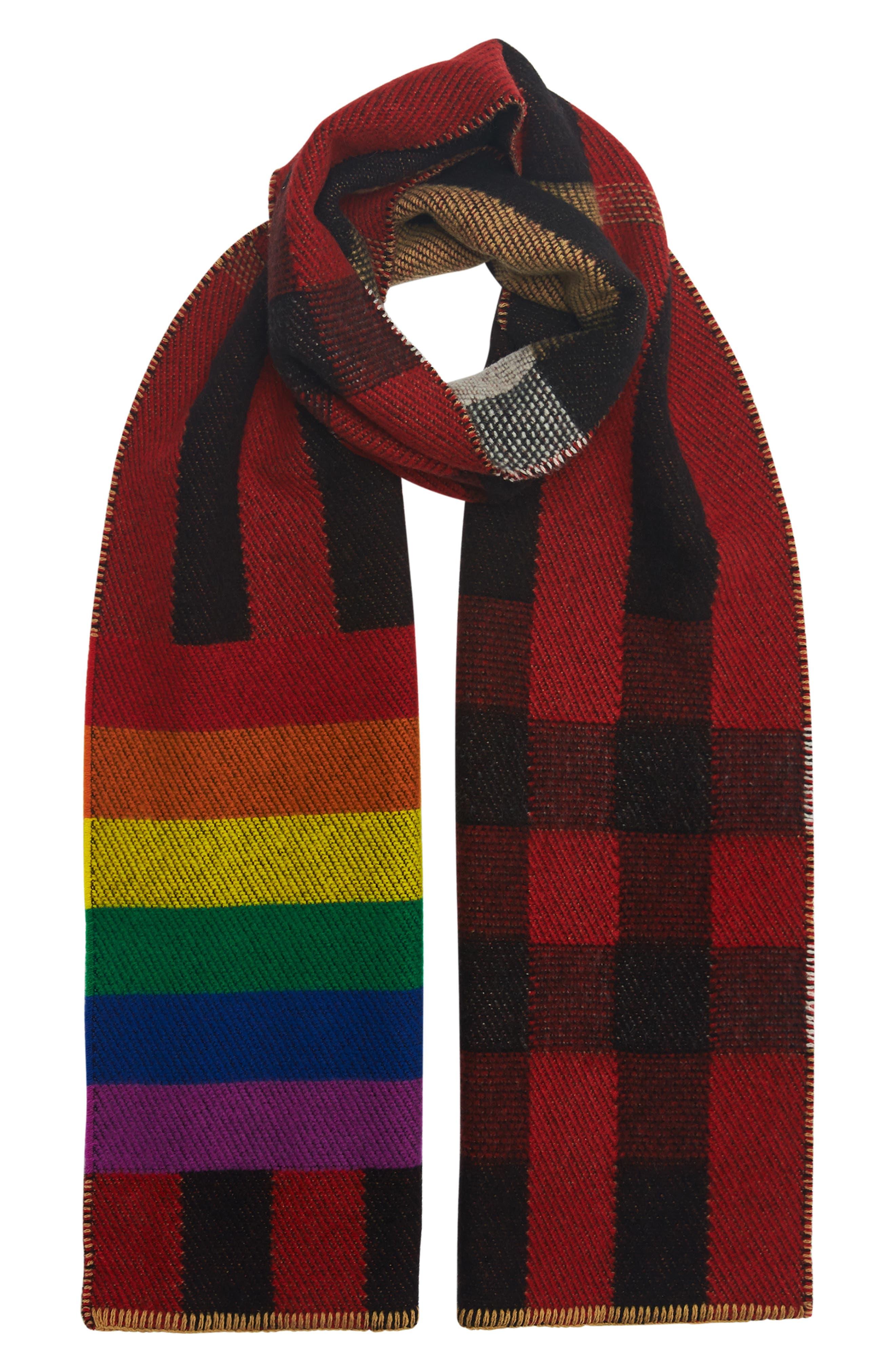 Rainbow Stripe Mega Check Cashmere Blanket Scarf,                             Alternate thumbnail 3, color,                             200