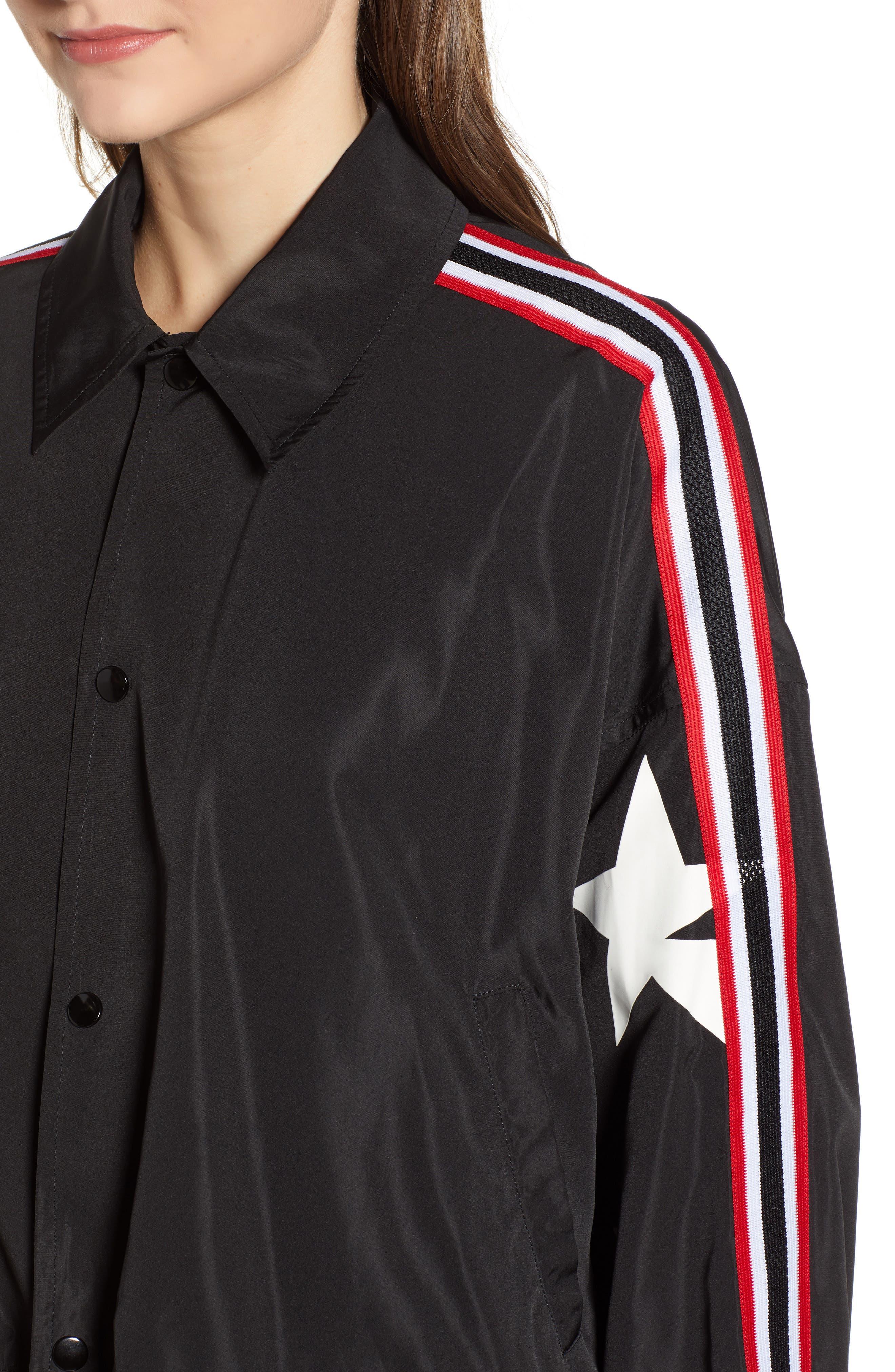 Star Drawstring Track Jacket,                             Alternate thumbnail 4, color,                             BLACK