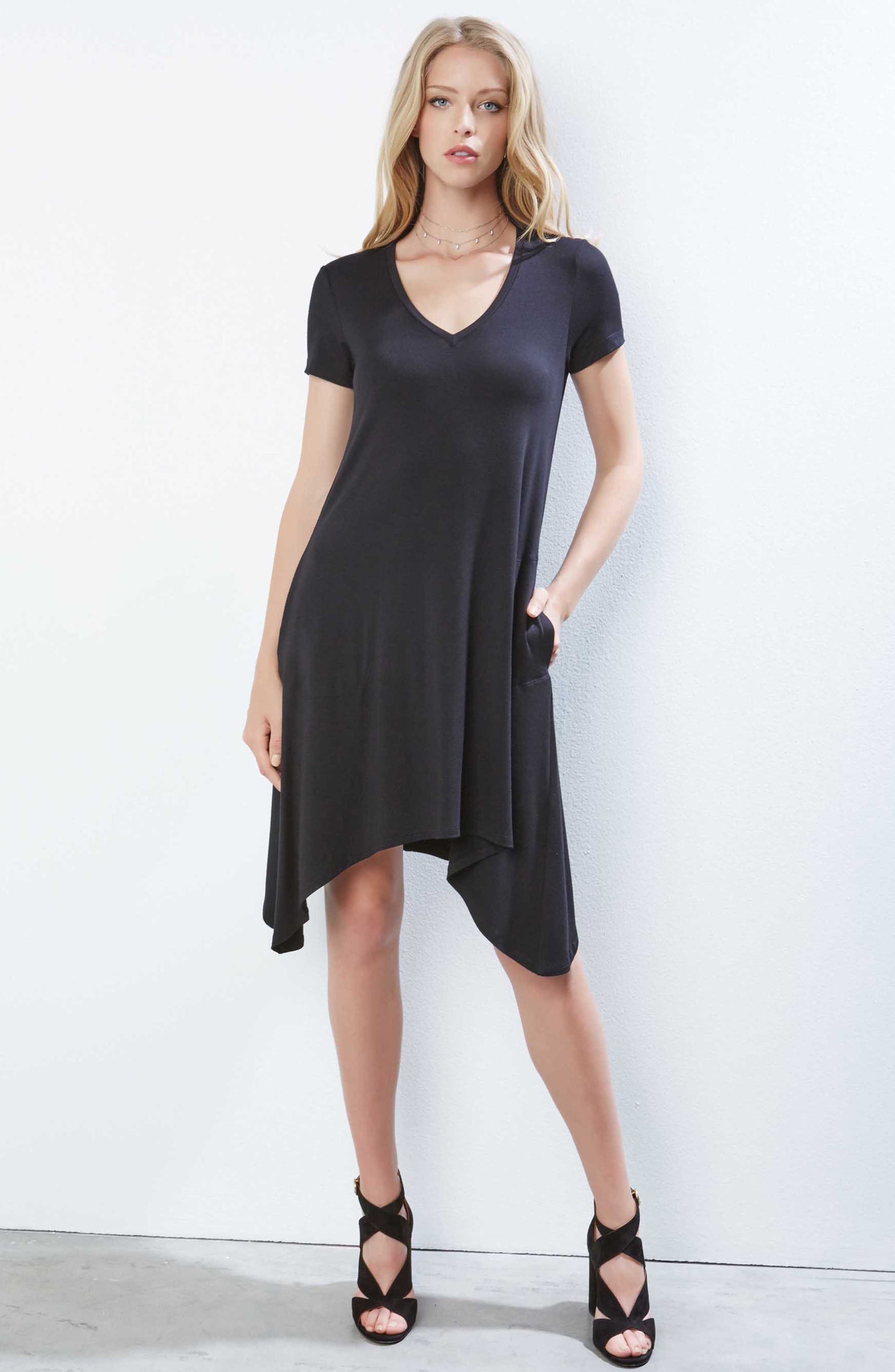 Hailey High/Low Dress,                             Alternate thumbnail 4, color,                             BLACK