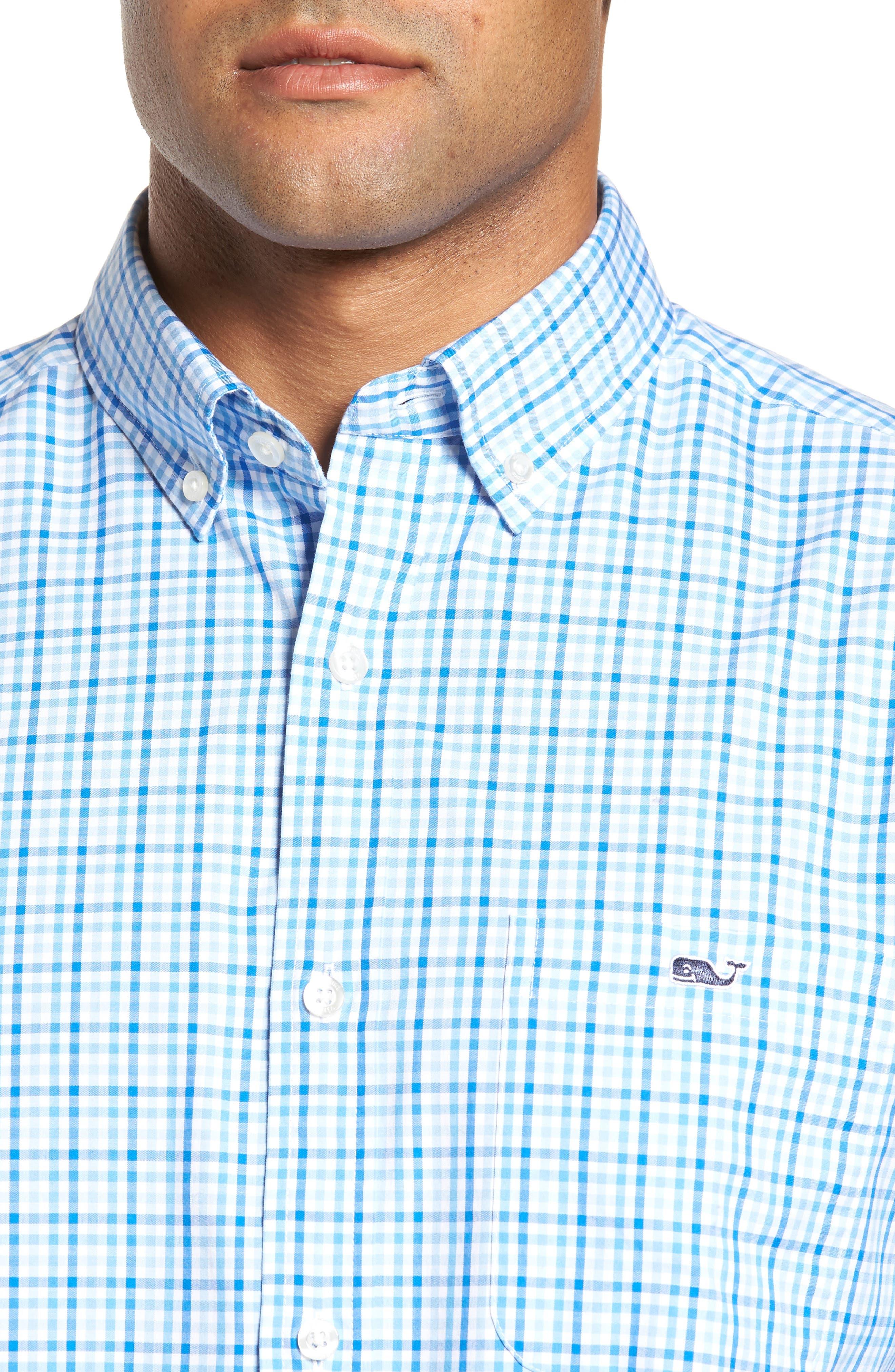 Munroe Tucker Classic Fit Gingham Sport Shirt,                             Alternate thumbnail 4, color,                             456