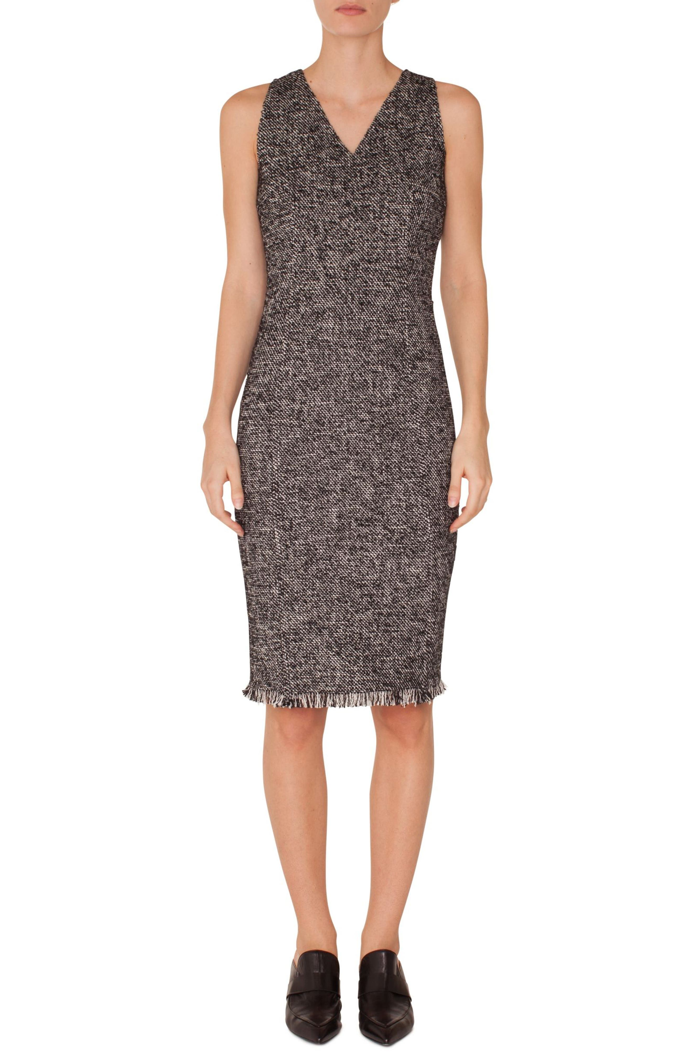 Tweed Sheath Dress,                             Main thumbnail 1, color,                             BLACK