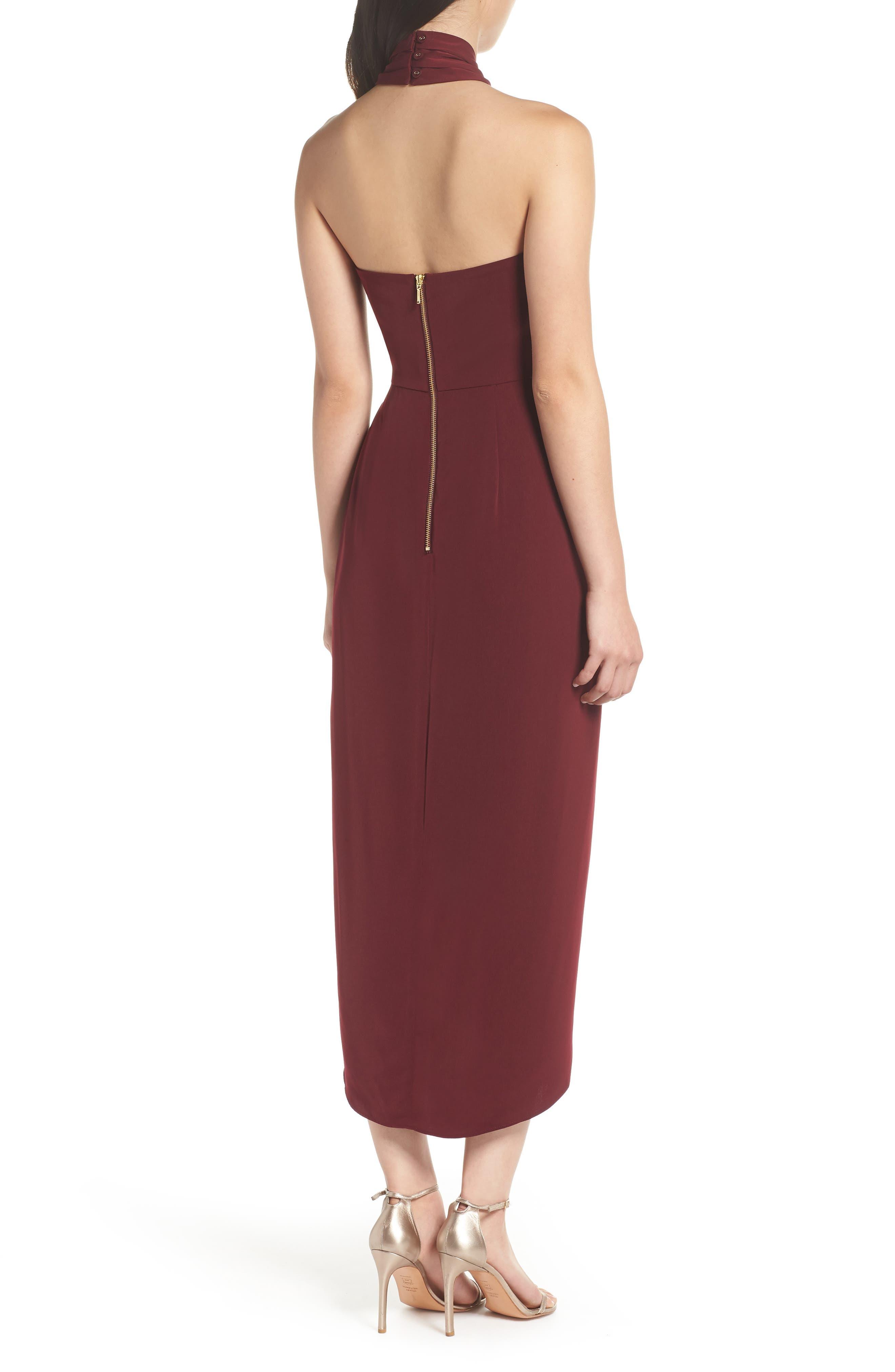 SHONA JOY,                             Knotted Tulip Hem Midi Dress,                             Alternate thumbnail 2, color,                             BURGUNDY
