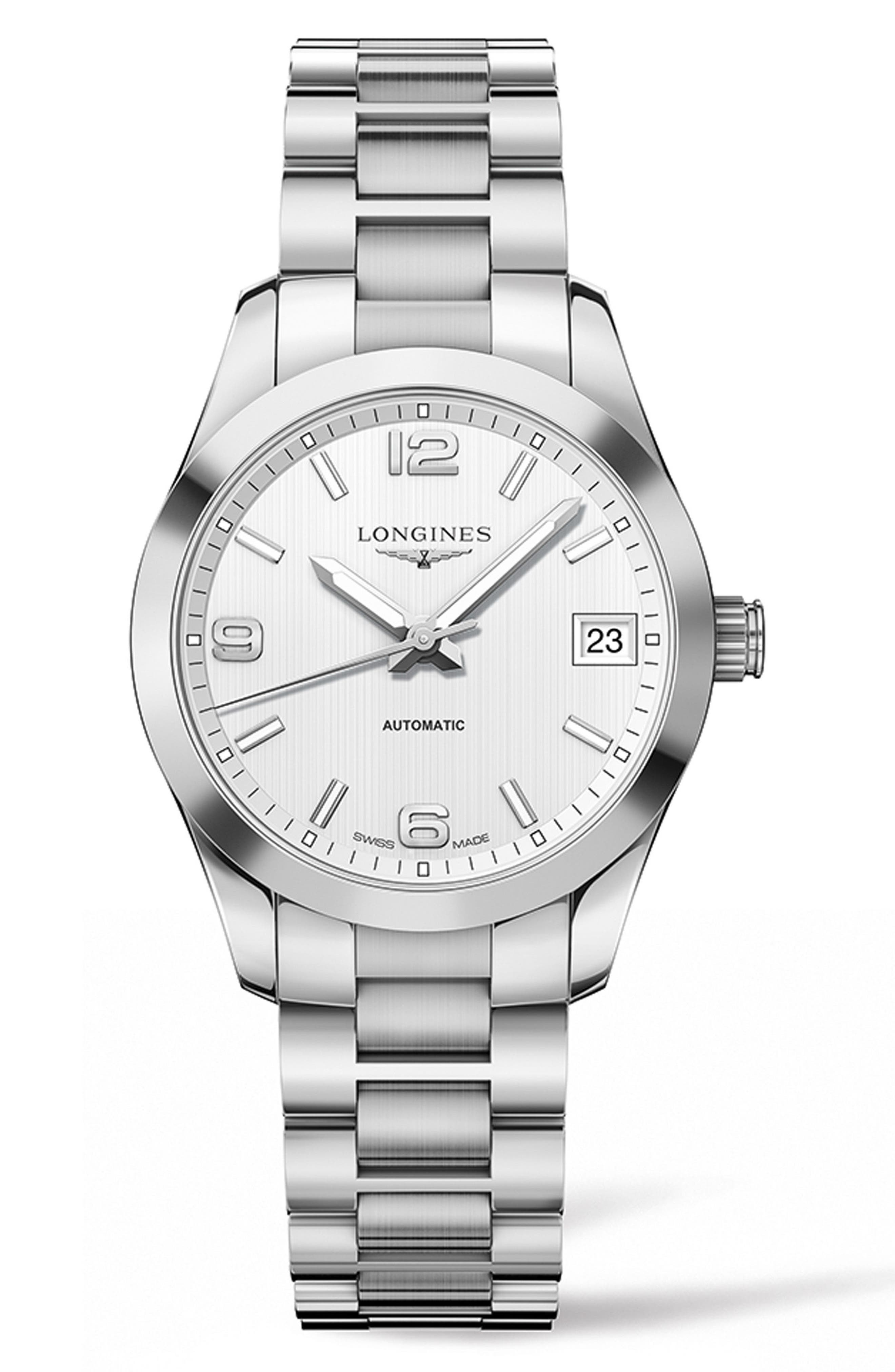 Conquest Classic Automatic Bracelet Watch, 34mm,                             Main thumbnail 1, color,                             SILVER