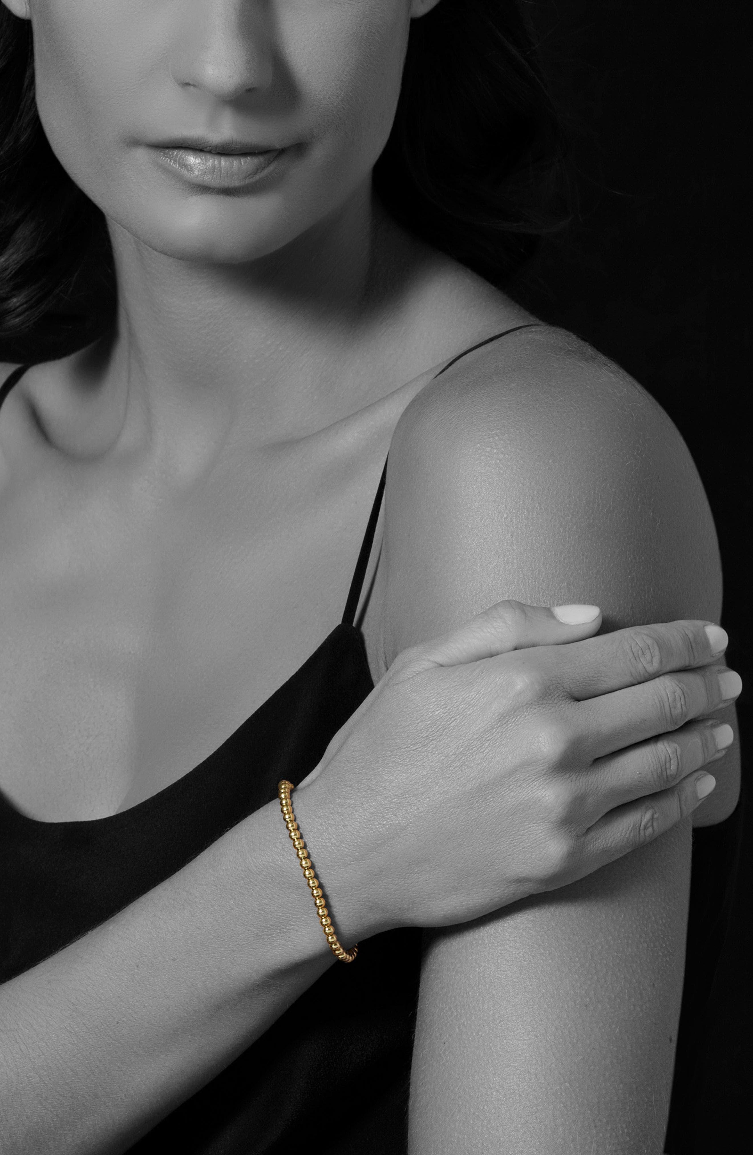 Caviar Gold Ball Stretch Bracelet,                             Alternate thumbnail 2, color,                             GOLD