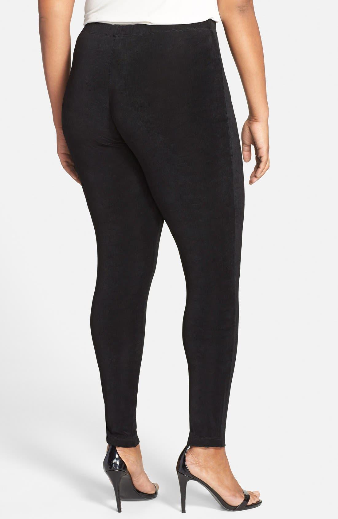 High Rise Stretch Knit Slim Pants,                             Alternate thumbnail 2, color,                             BLACK