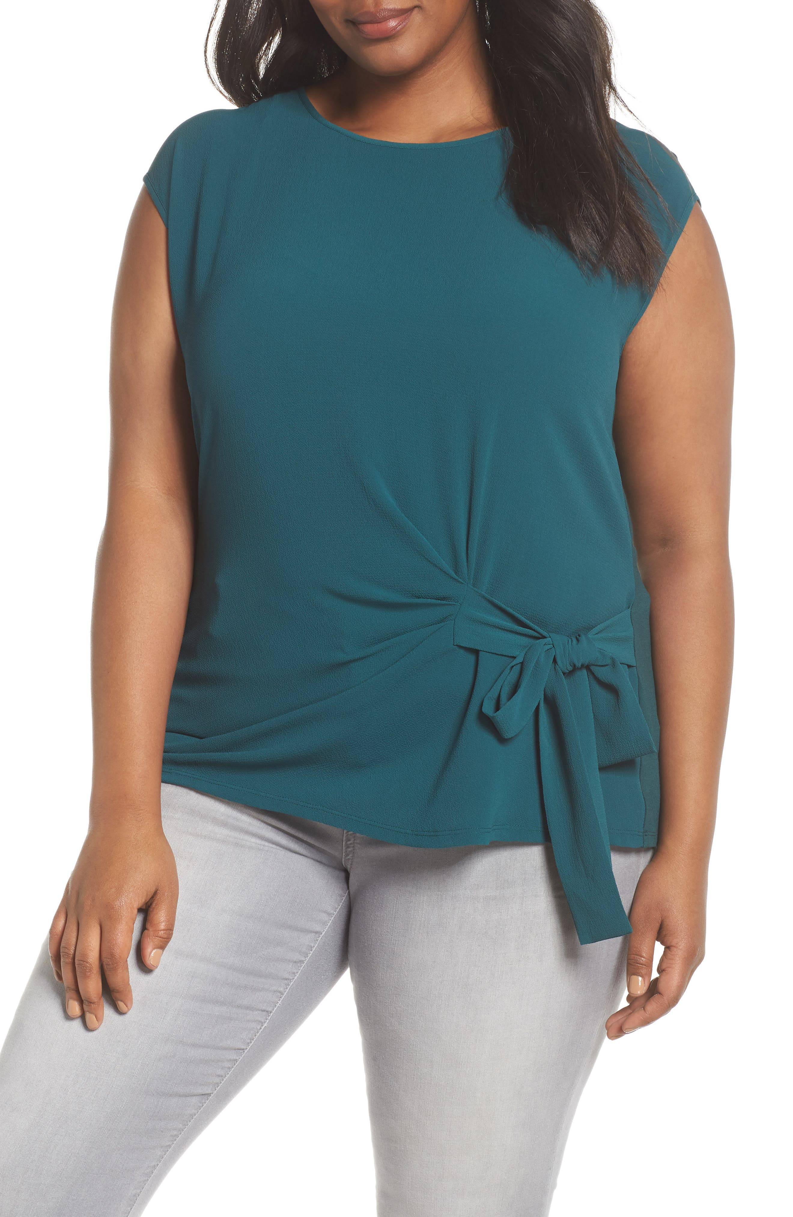 VINCE CAMUTO Mixed Media Tie Front Blouse, Main, color, 303