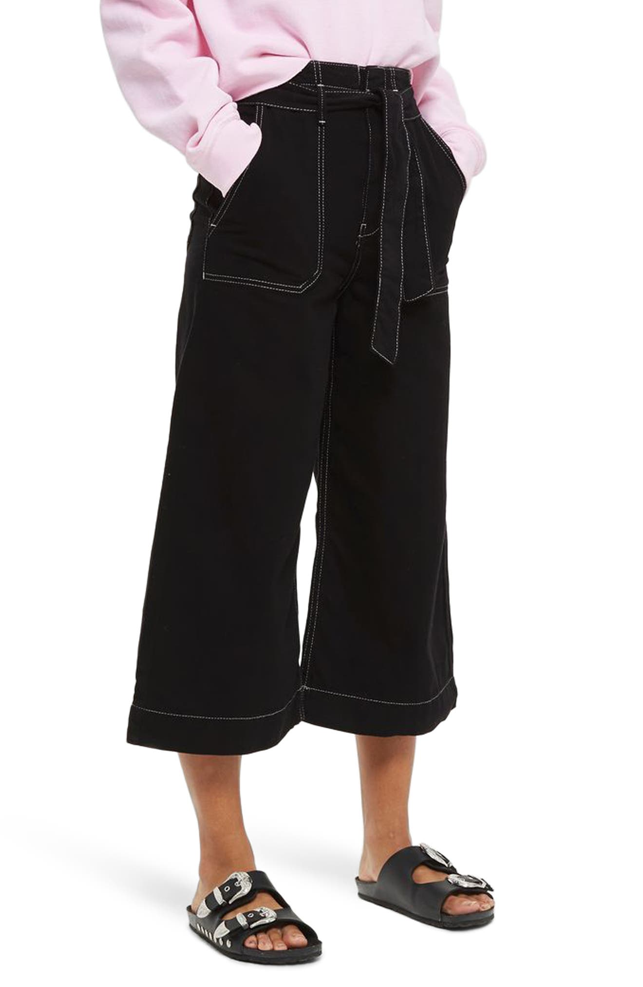 Contrast Stitch Wide Leg Crop Trousers,                         Main,                         color, 001