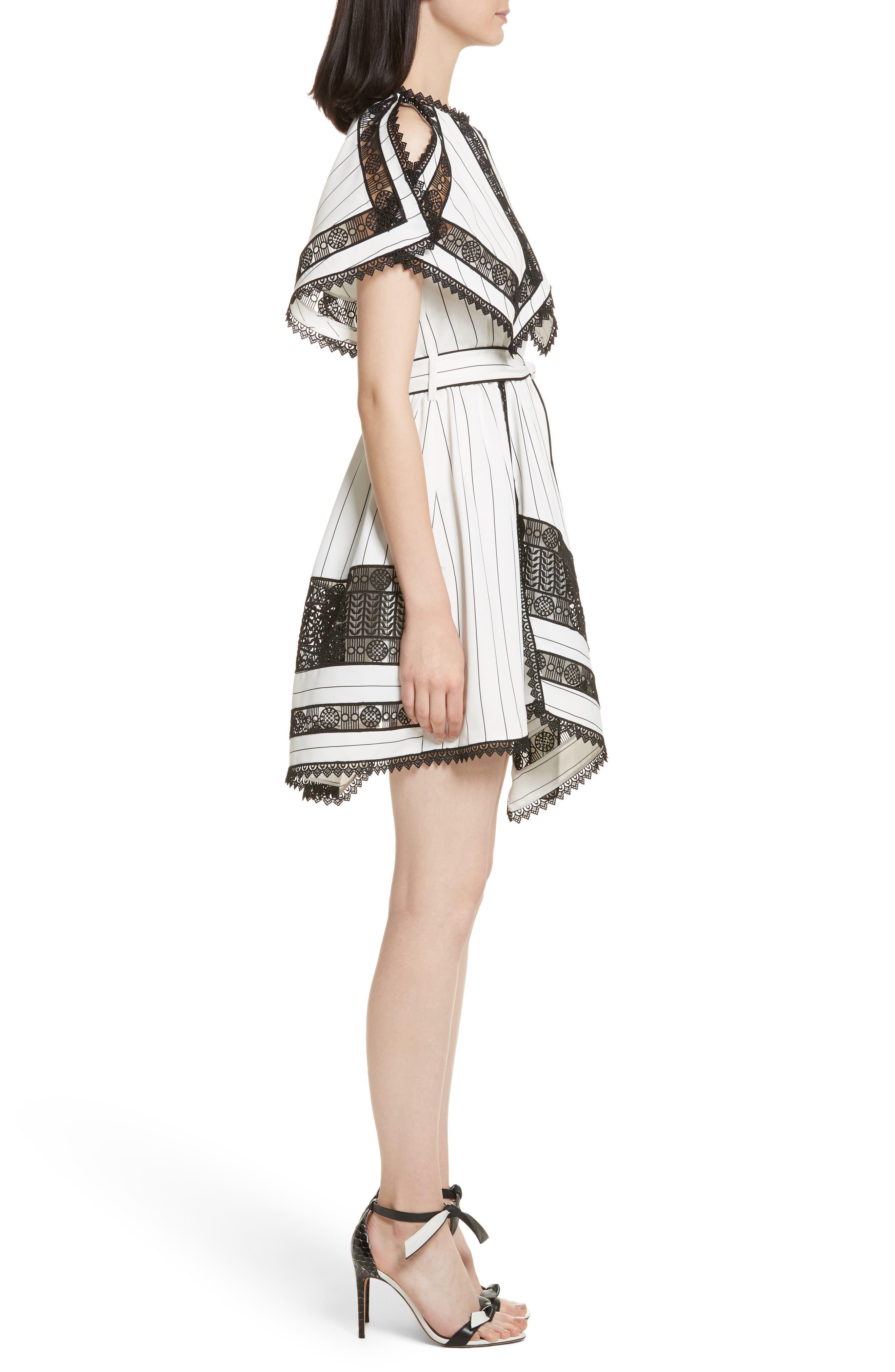 Lace Trim Handkerchief Hem Dress,                             Alternate thumbnail 3, color,