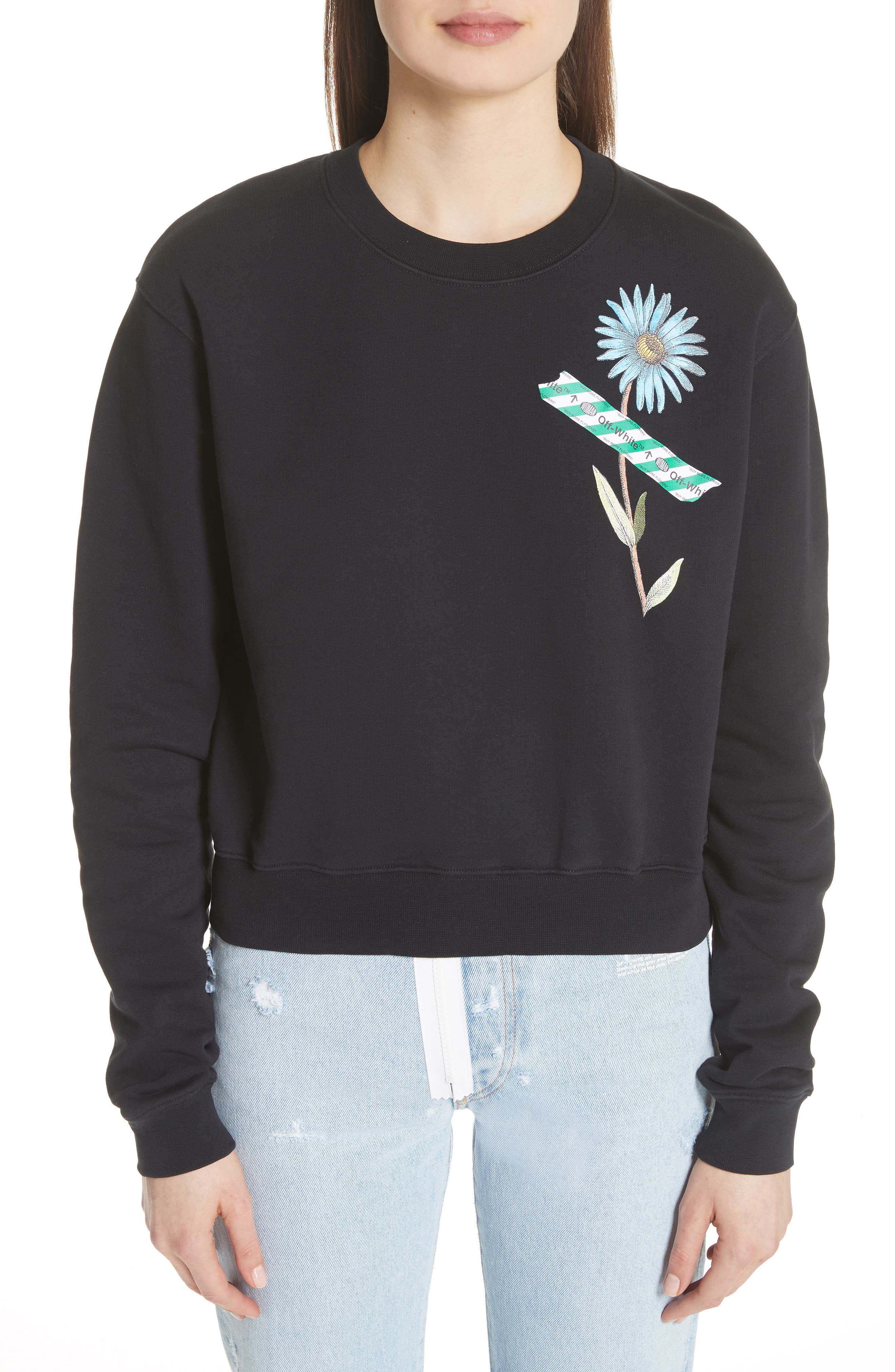 Flower Tape Crop Sweatshirt,                         Main,                         color, 001