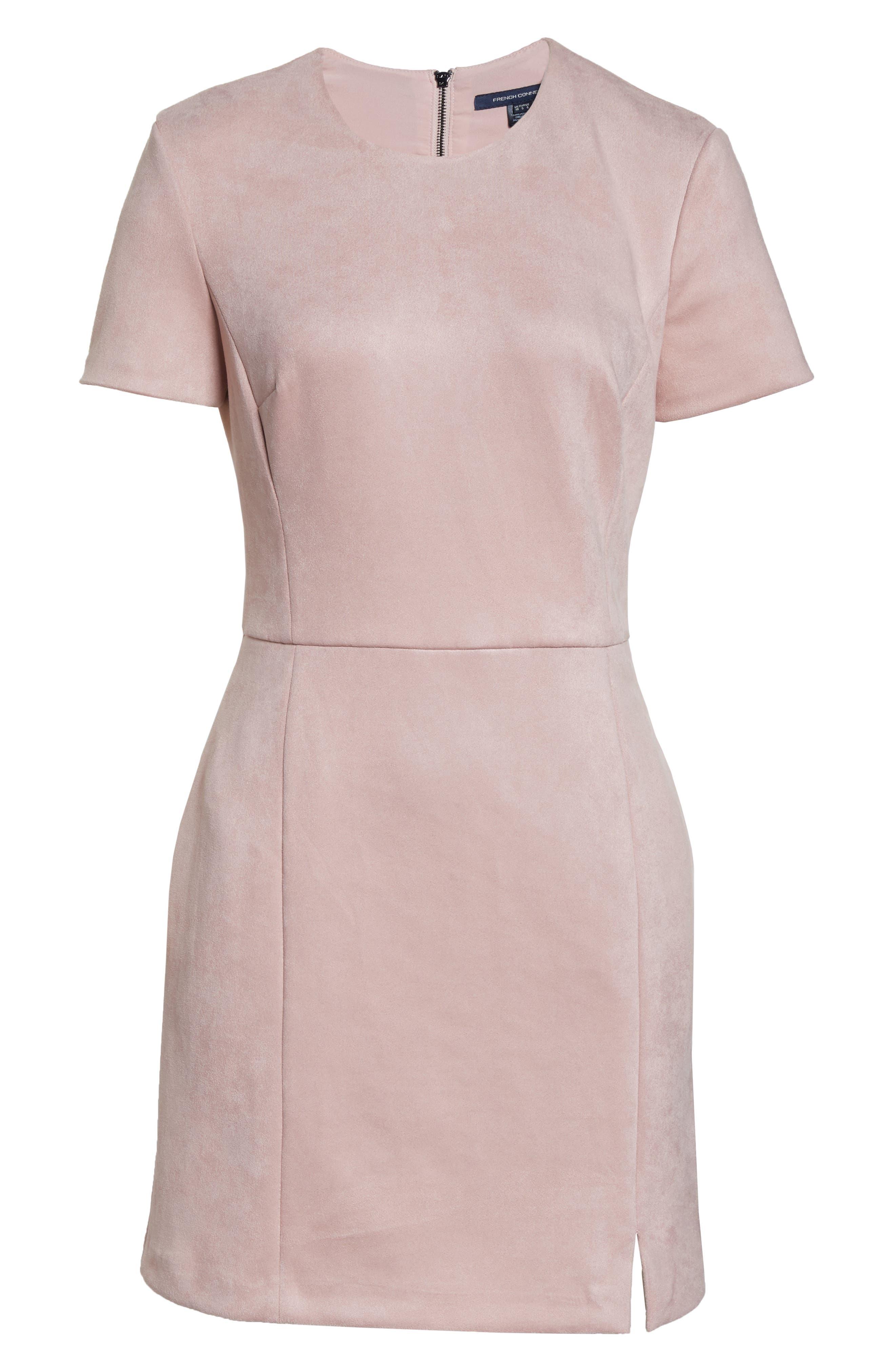 Short Sleeve Faux Suede Dress,                             Alternate thumbnail 7, color,                             TEAGOWN