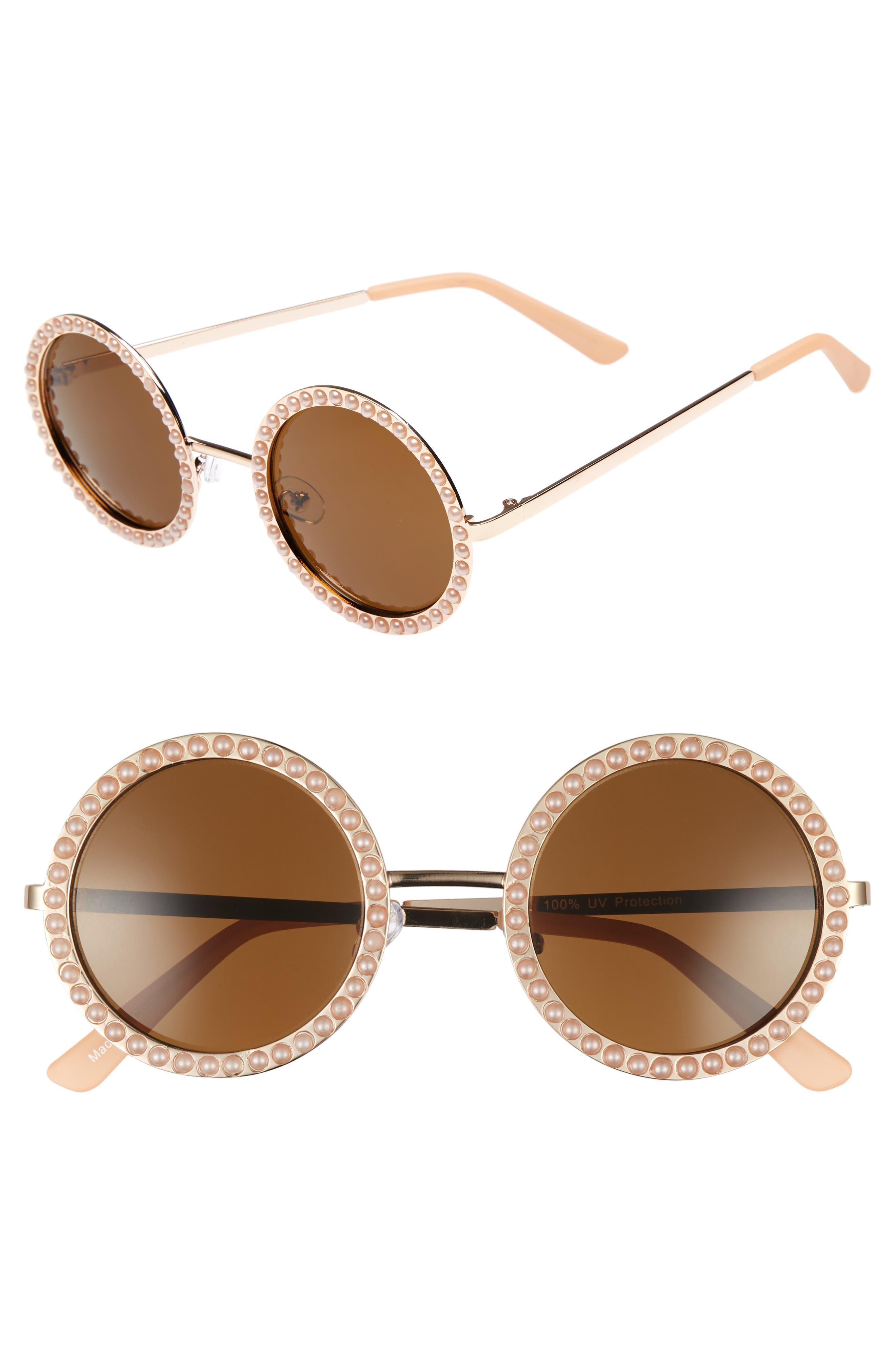 55mm Imitation Pearl Round Sunglasses,                         Main,                         color, 710