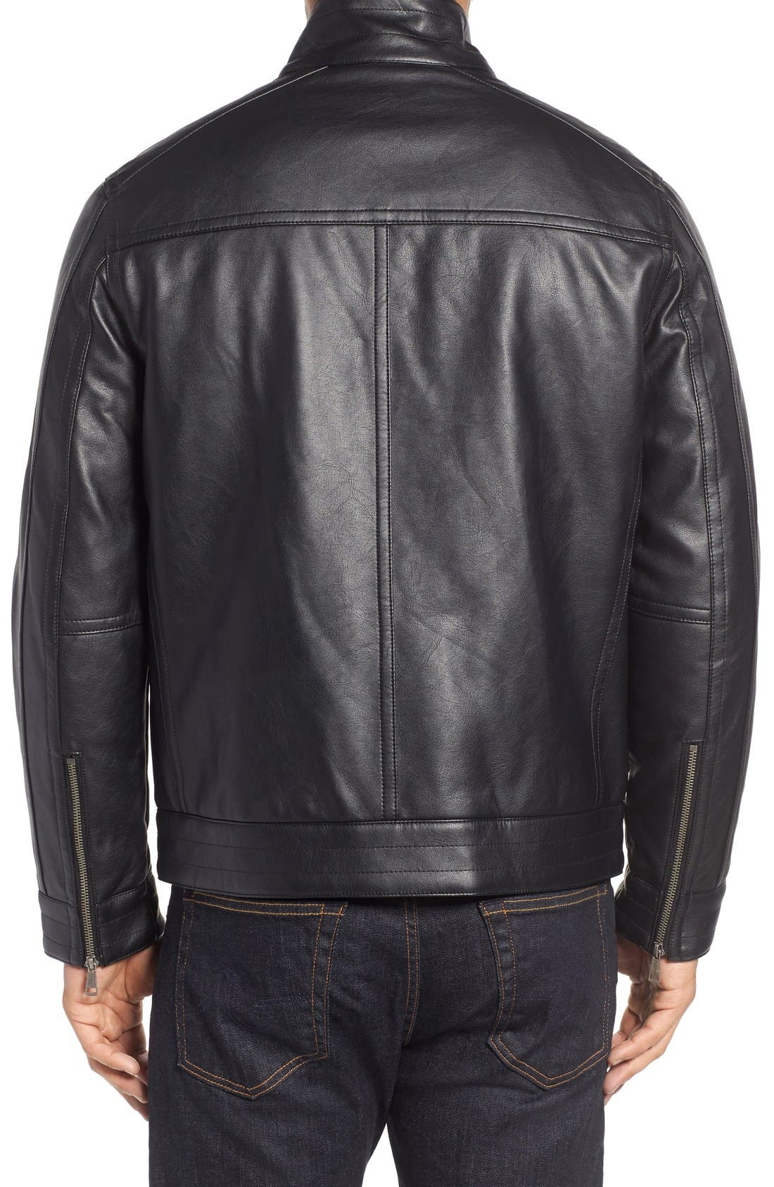 Faux Leather Zip Jacket,                             Alternate thumbnail 4, color,                             BLACK
