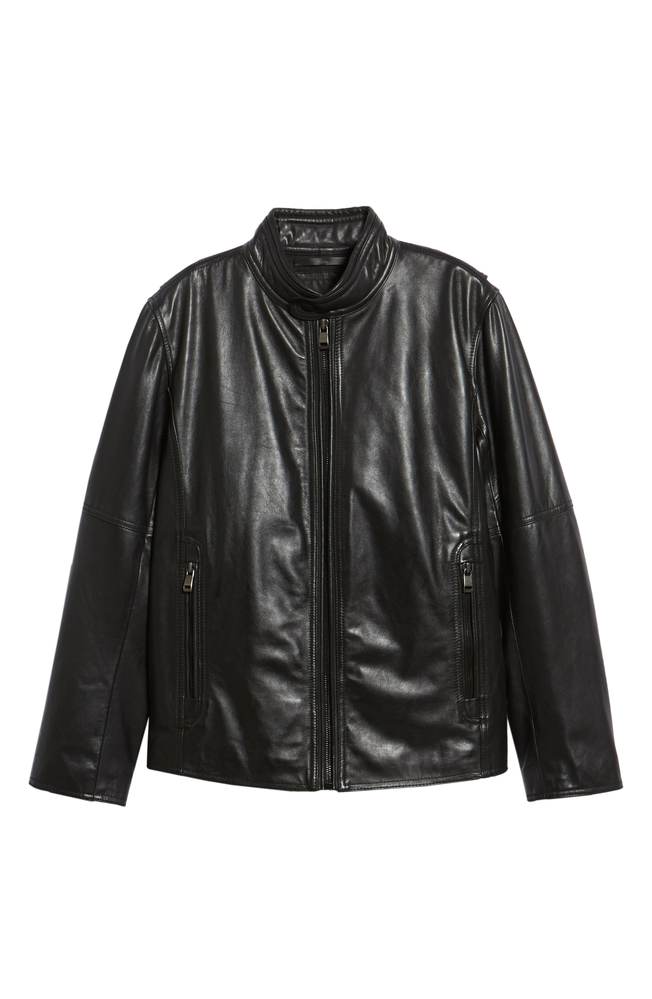 Emerson Lightweight Leather Moto Jacket,                             Alternate thumbnail 5, color,                             BLACK