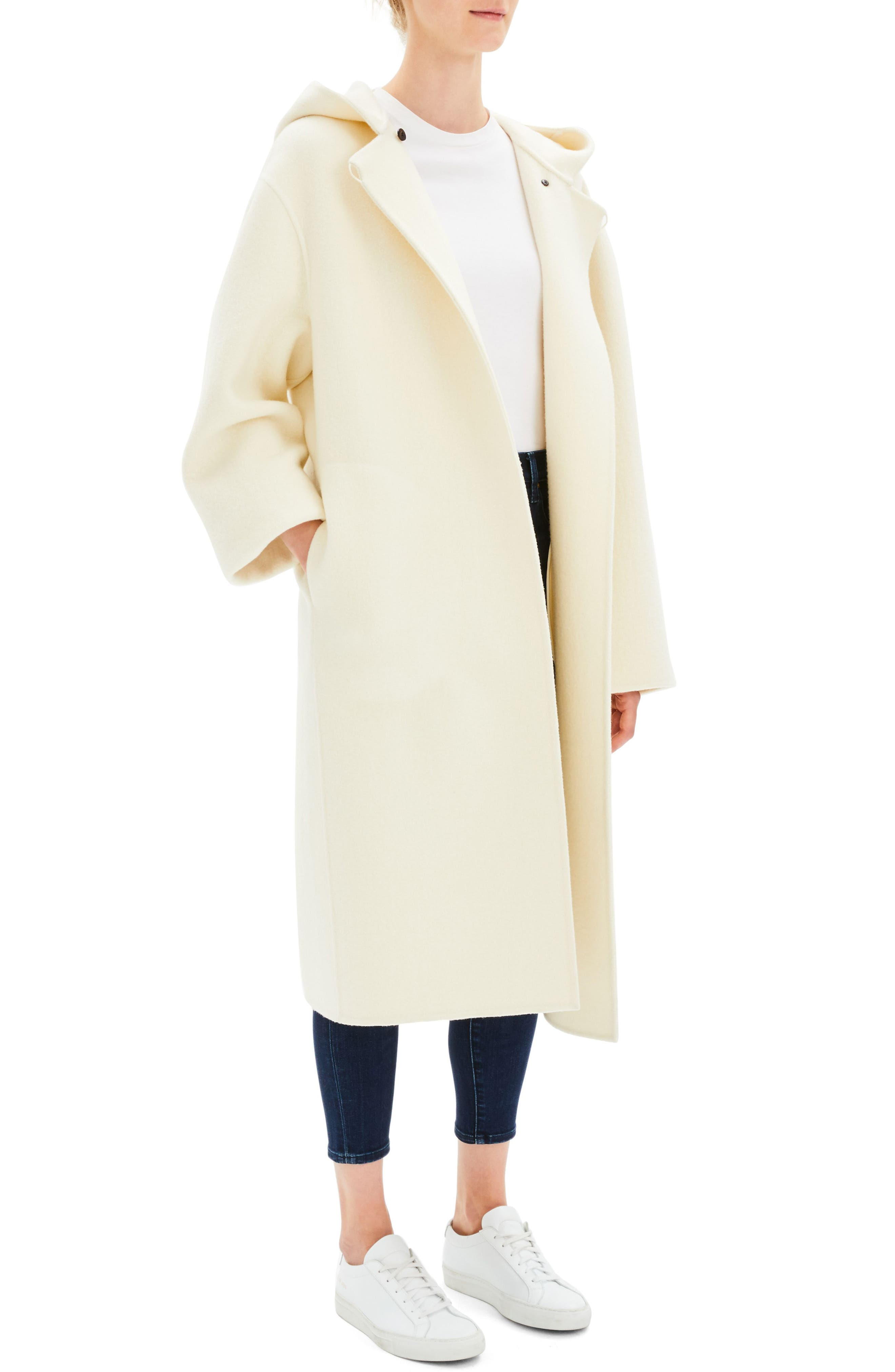 Clean Duffel Wool Blend Coat,                             Alternate thumbnail 3, color,                             EASTER LILY