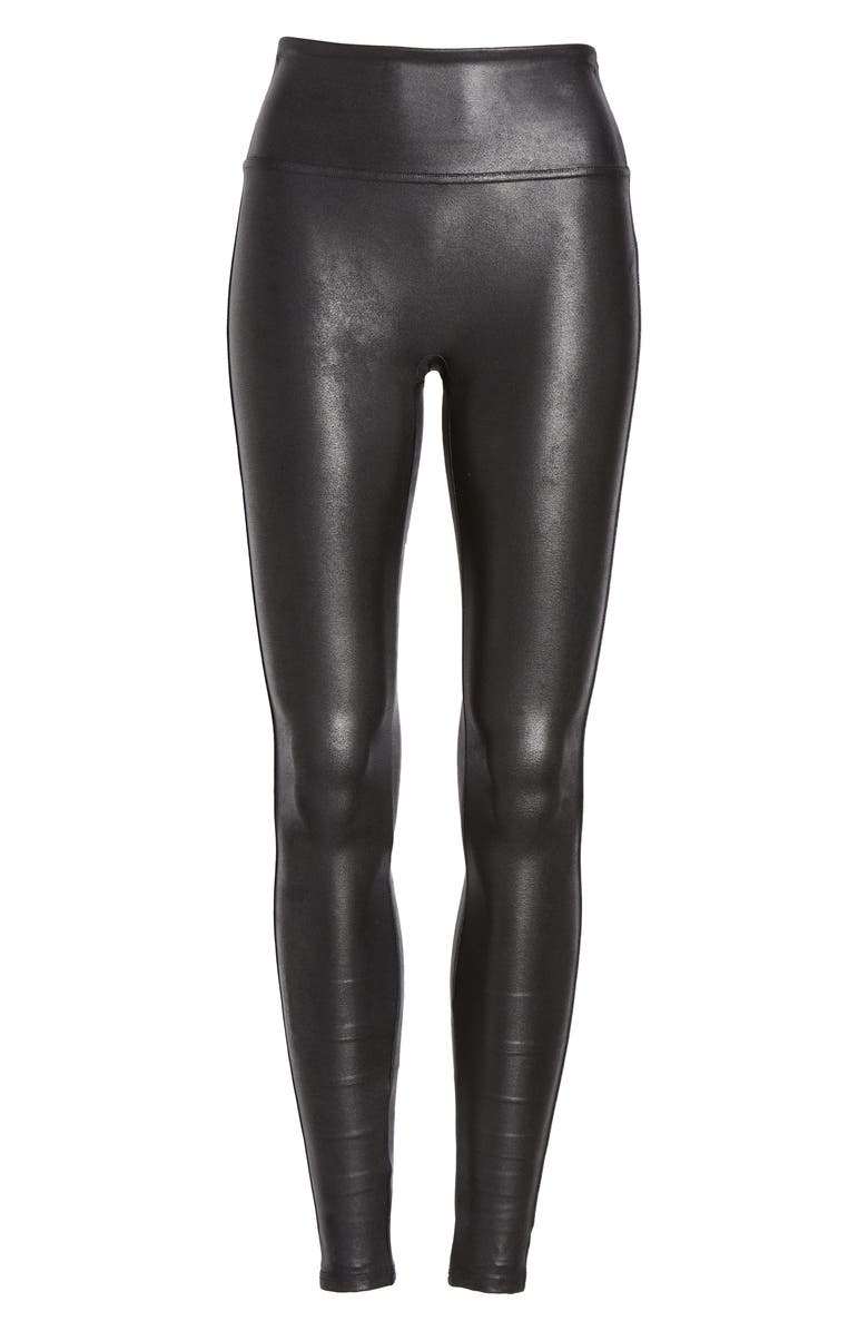 Faux Leather Leggings,                         Alternate,                         color, BLACK