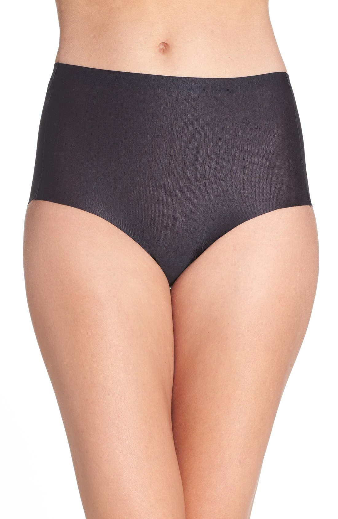 High Waist Smoothing Briefs,                             Main thumbnail 1, color,                             BLACK
