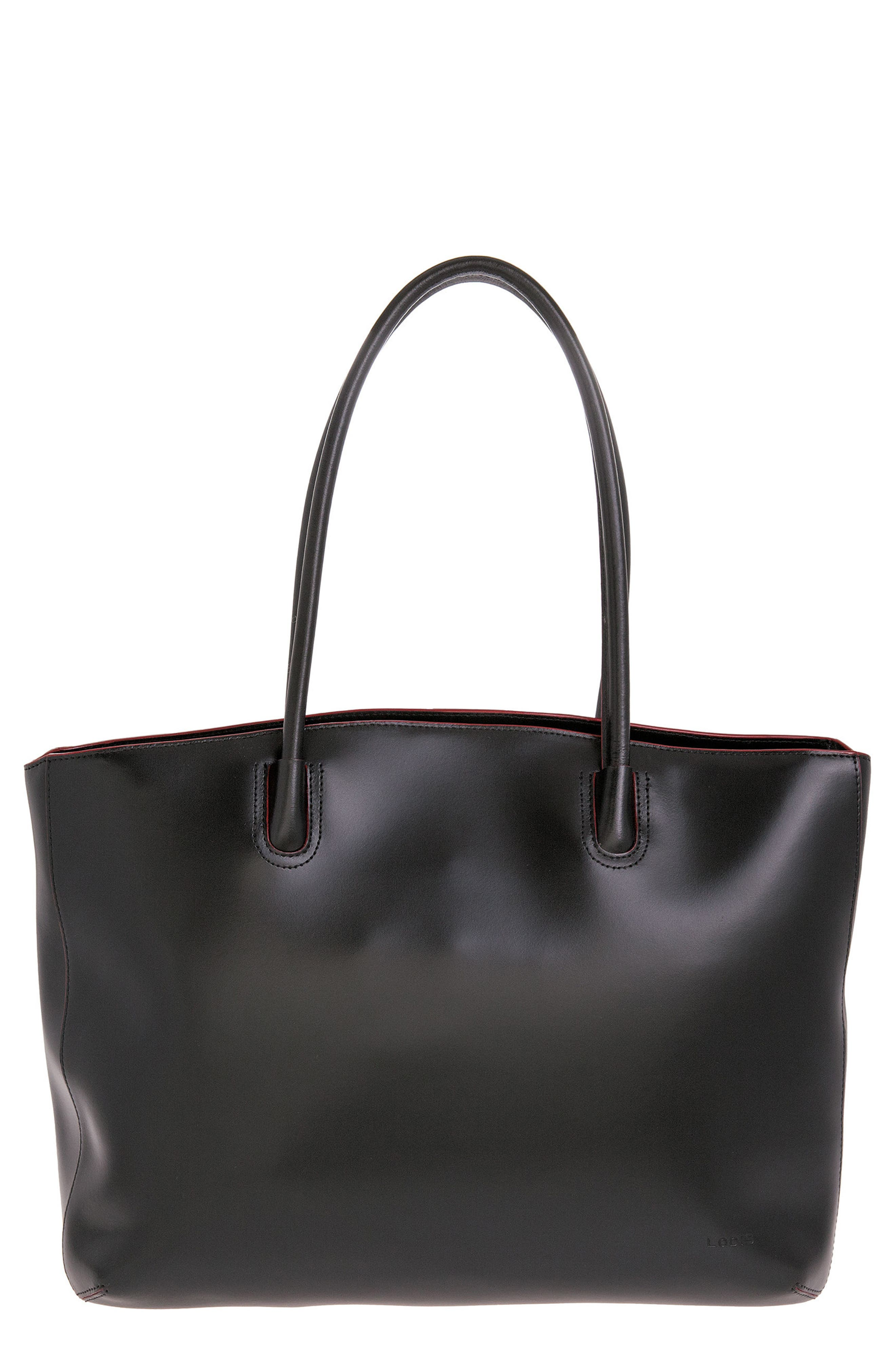 Audrey Under Lock & Key - Milano RFID Leather Tote,                             Main thumbnail 1, color,                             BLACK