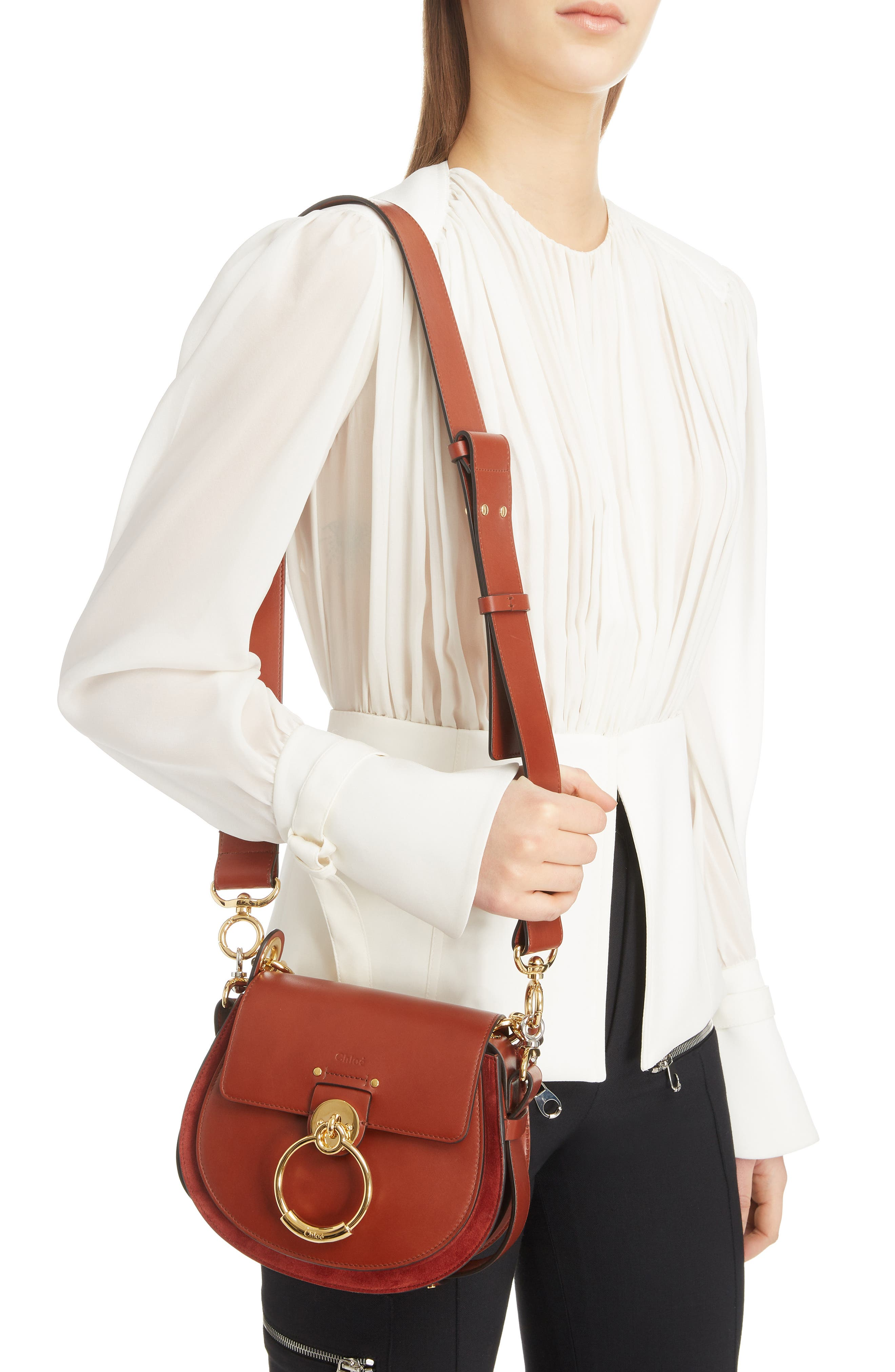 Small Tess Calfskin Leather Shoulder Bag,                             Alternate thumbnail 2, color,                             SEPIA BROWN