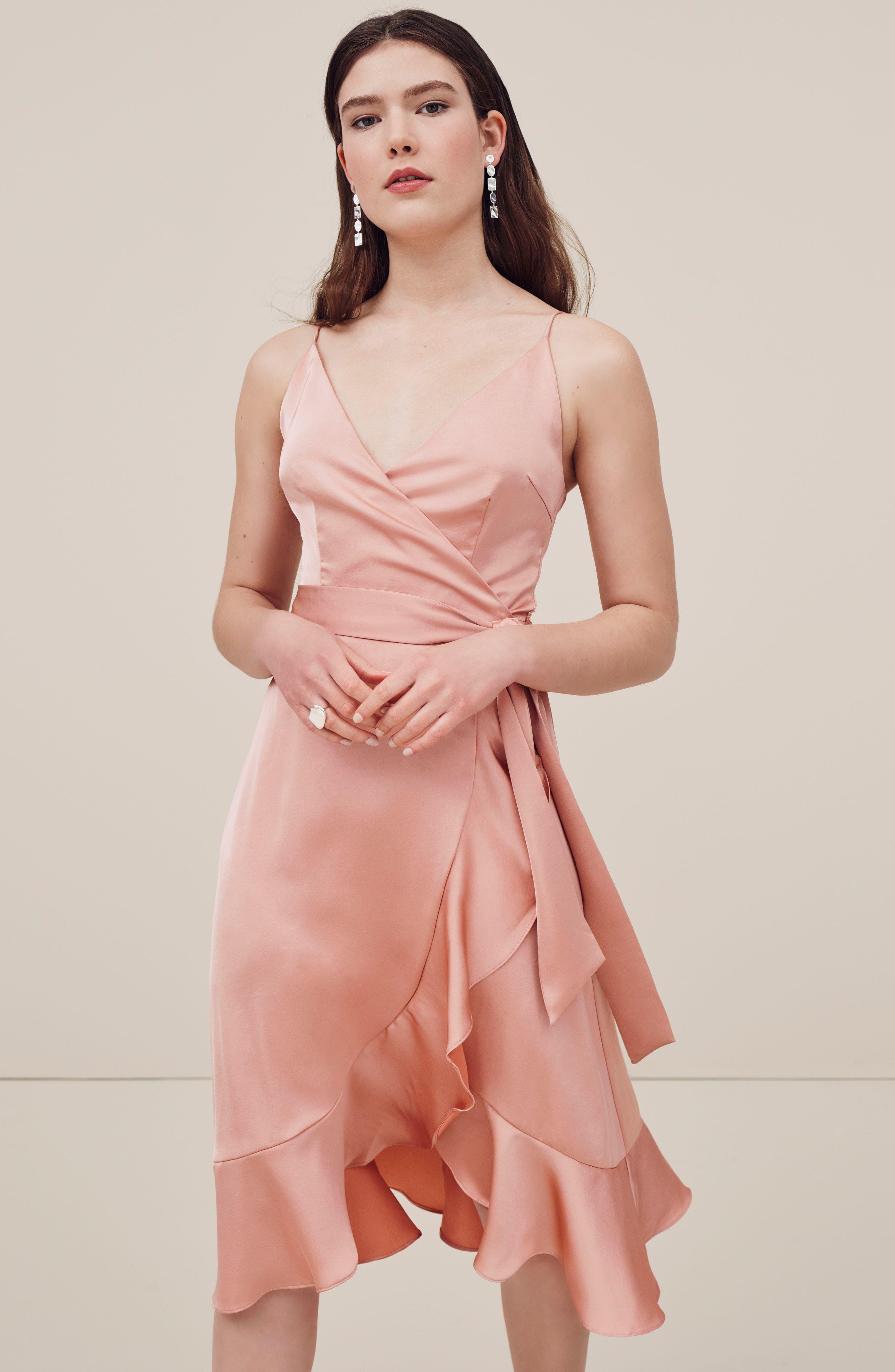 Marilyn Satin Faux Wrap Dress,                             Alternate thumbnail 8, color,                             NAVY