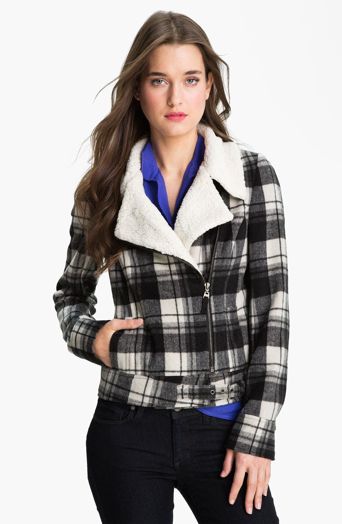 Buffalo Plaid Moto Jacket,                             Main thumbnail 1, color,                             001