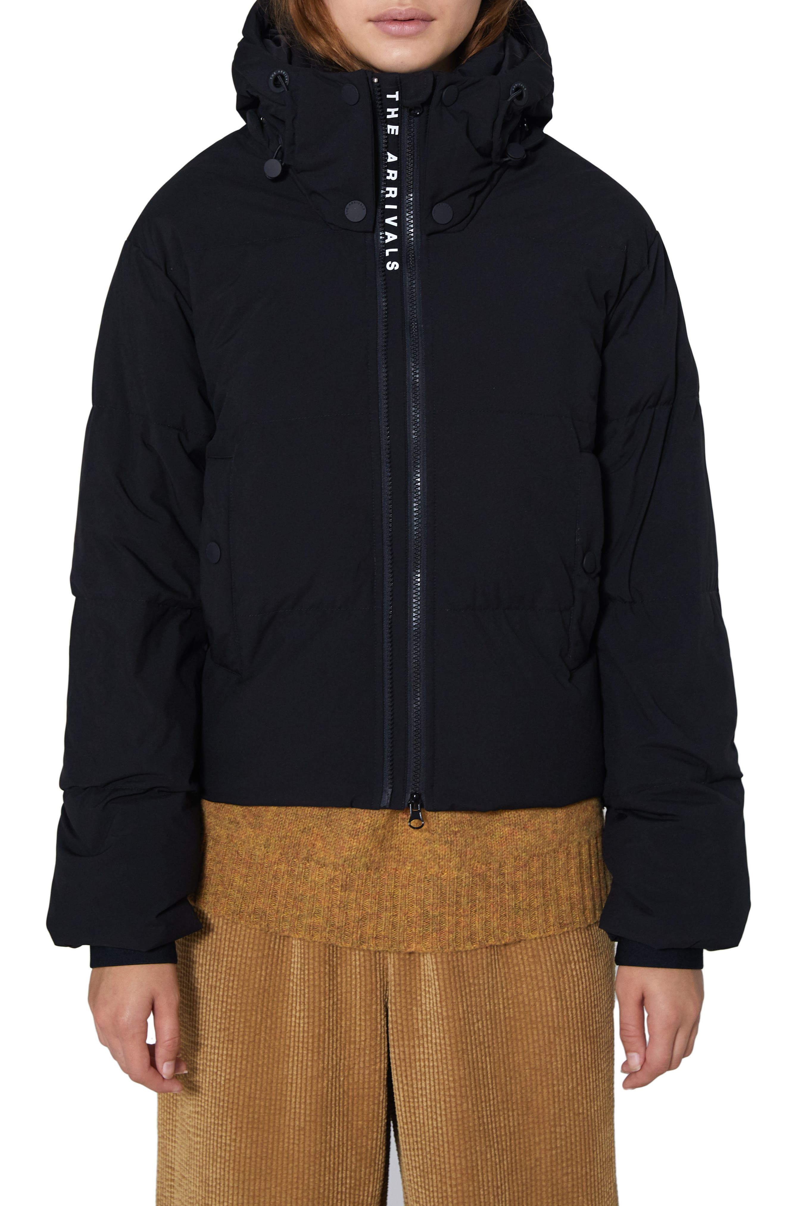 The Arrivals Crop Performance Down Puffer Jacket, Black