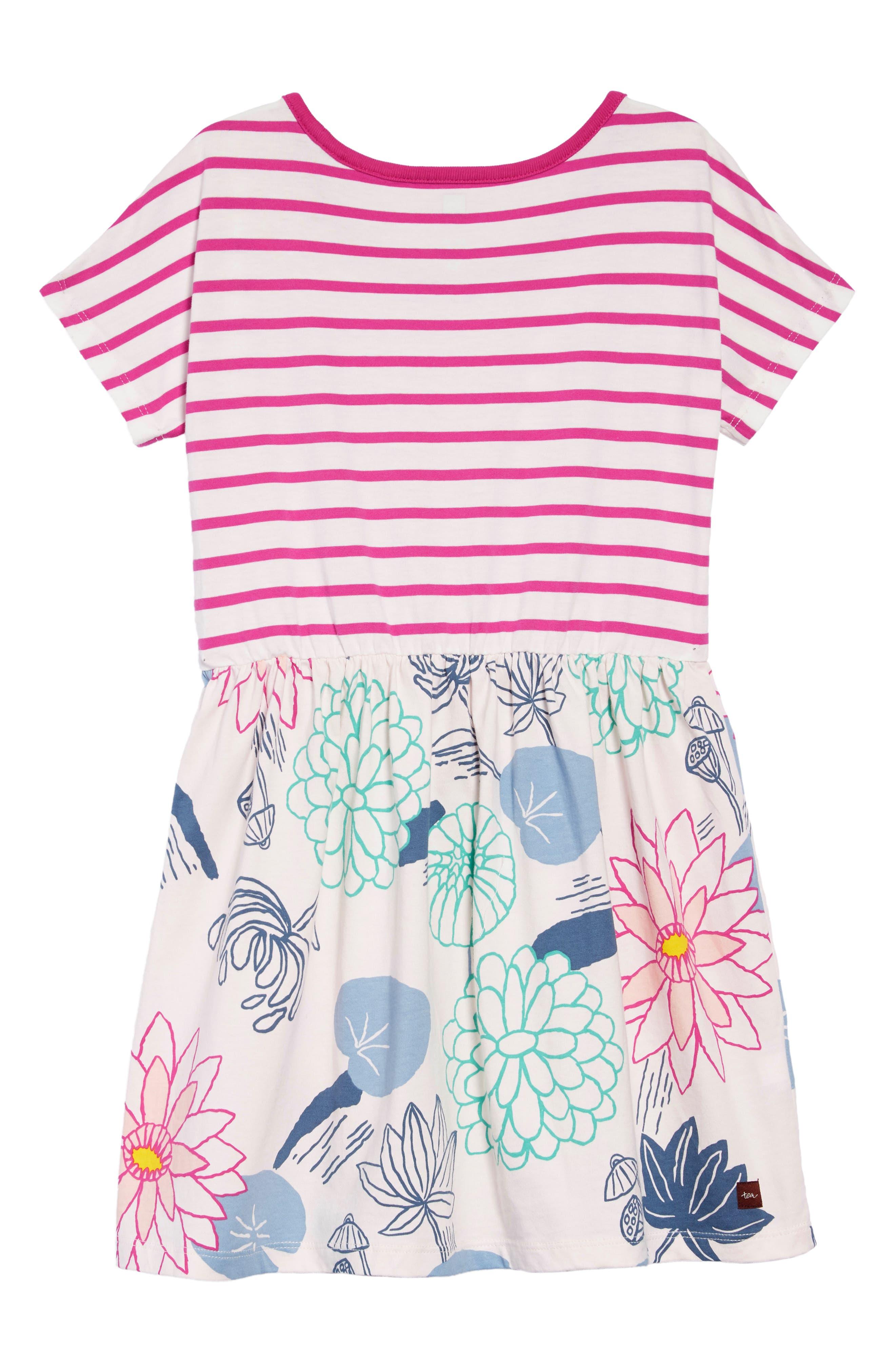Mixed Print Dress,                             Alternate thumbnail 2, color,                             LILYPAD FLORAL - SILKWORM