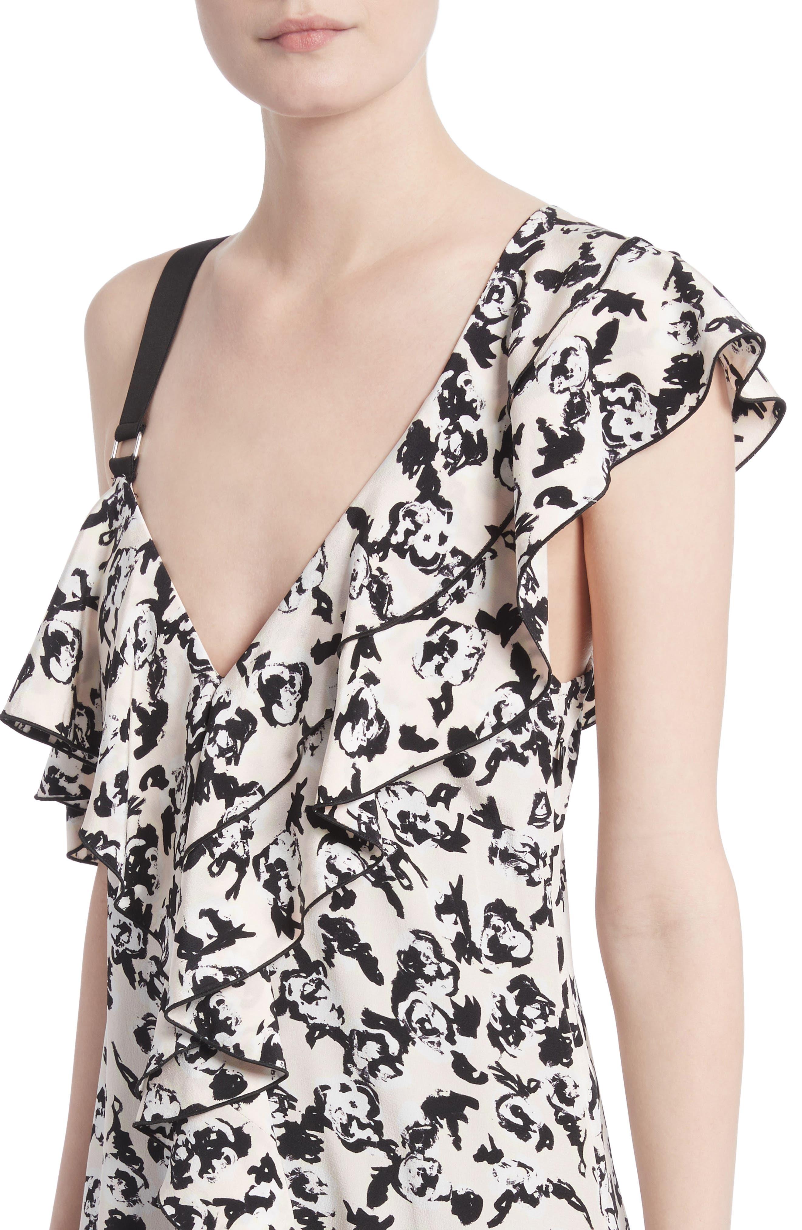 Ruffle Print Silk Midi Dress,                             Alternate thumbnail 4, color,                             001