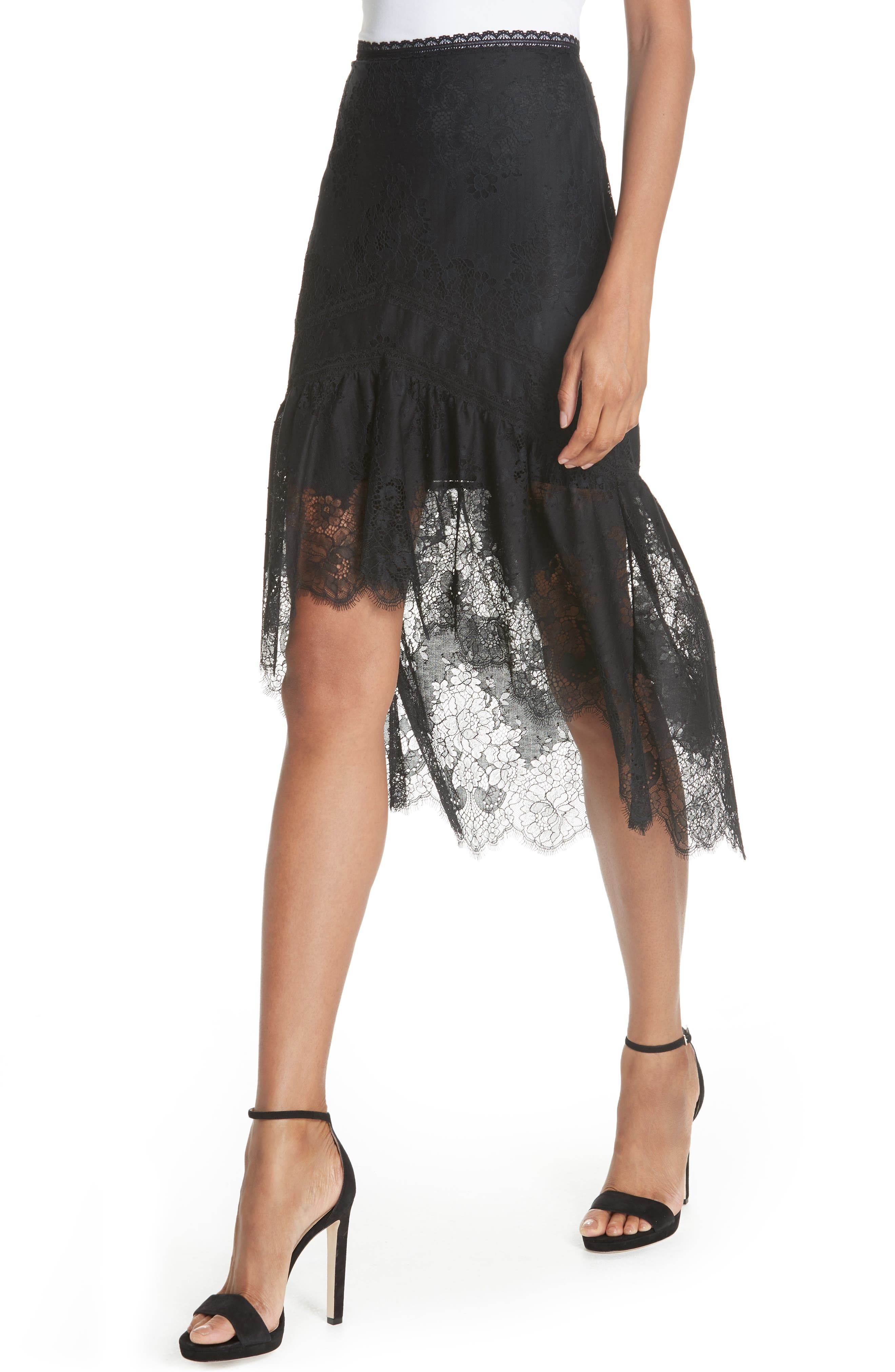 Triss High/Low Lace Skirt,                             Alternate thumbnail 4, color,                             001