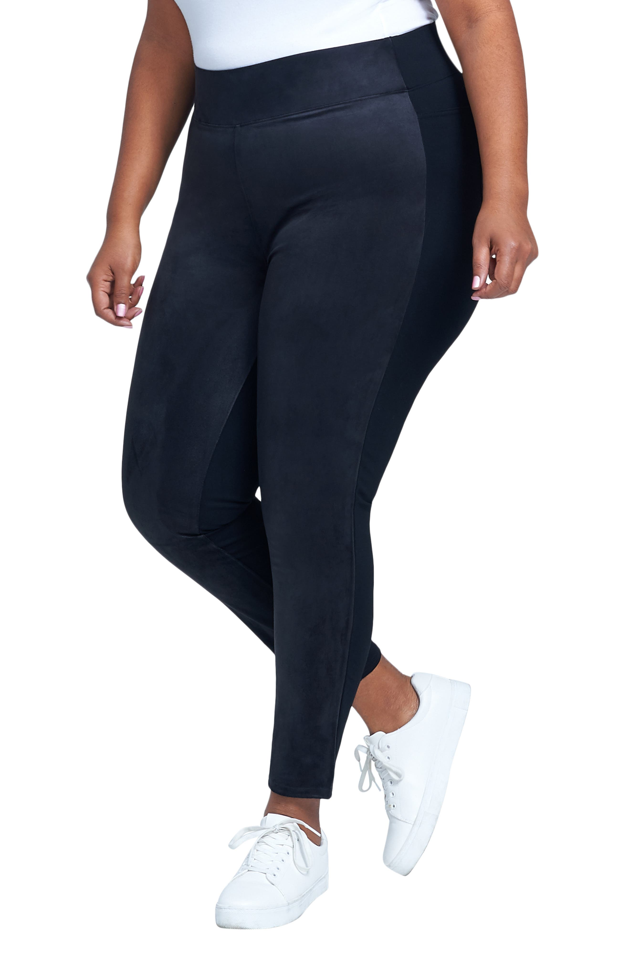 SEVEN7,                             High Rise Pull-On Vegan Leather Pants,                             Alternate thumbnail 8, color,                             CAVIAR