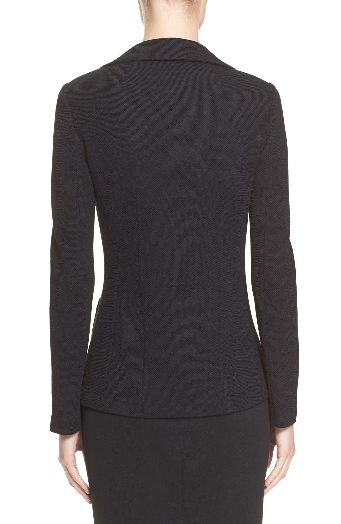 Milano Piqué Knit Jacket,                             Alternate thumbnail 2, color,                             CAVIAR