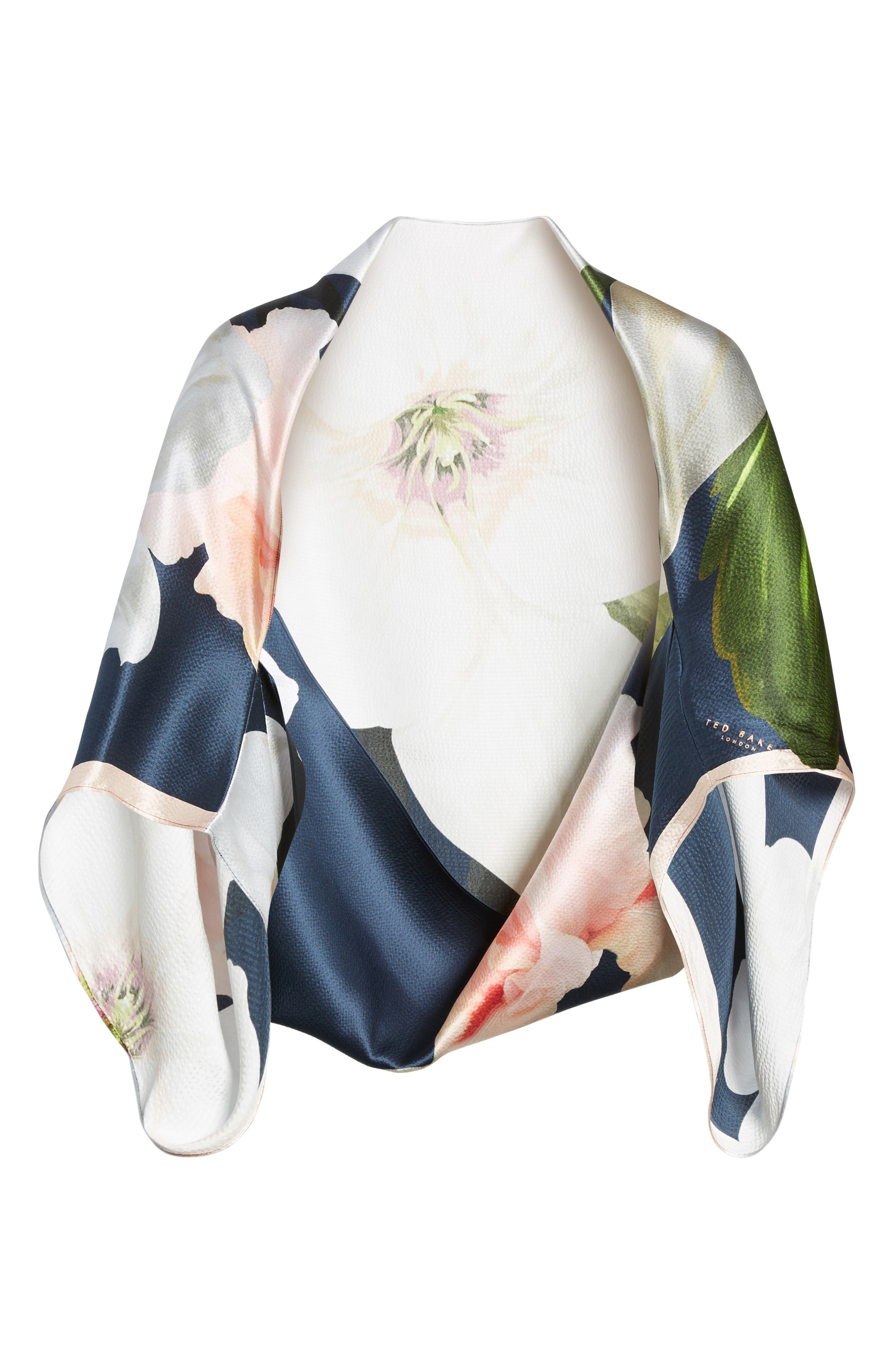 Chatsworth Bloom Silk Cape Scarf,                             Alternate thumbnail 12, color,
